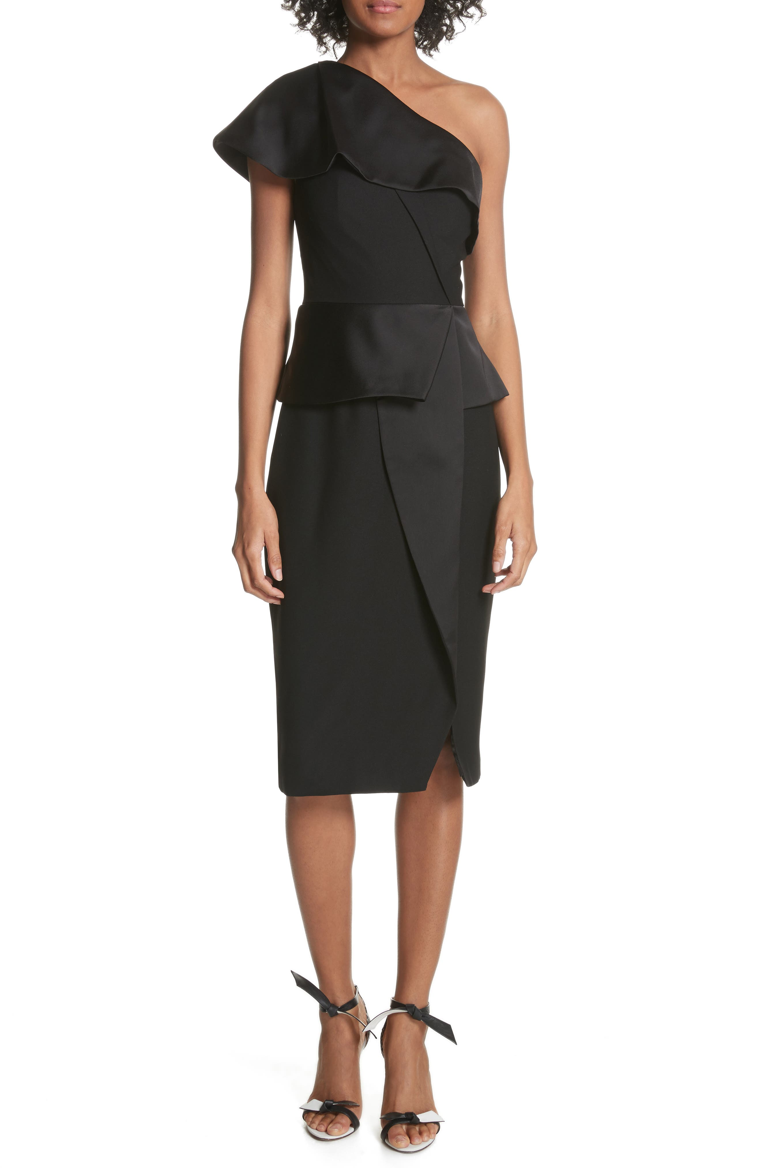 Pana One-Shoulder Peplum Sheath Dress,                         Main,                         color, Black