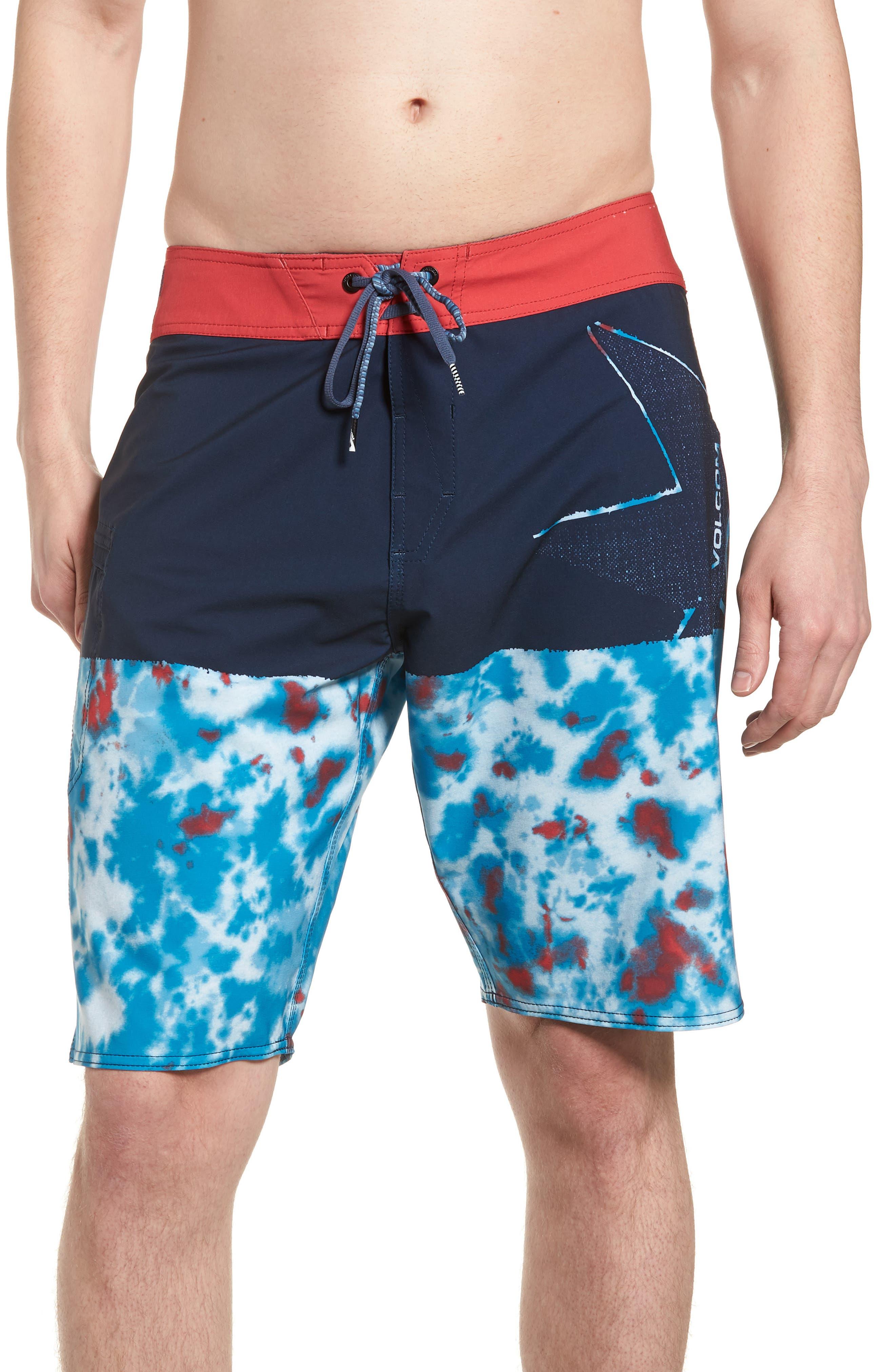 Lido Block Mod Board Shorts,                         Main,                         color, Blue True