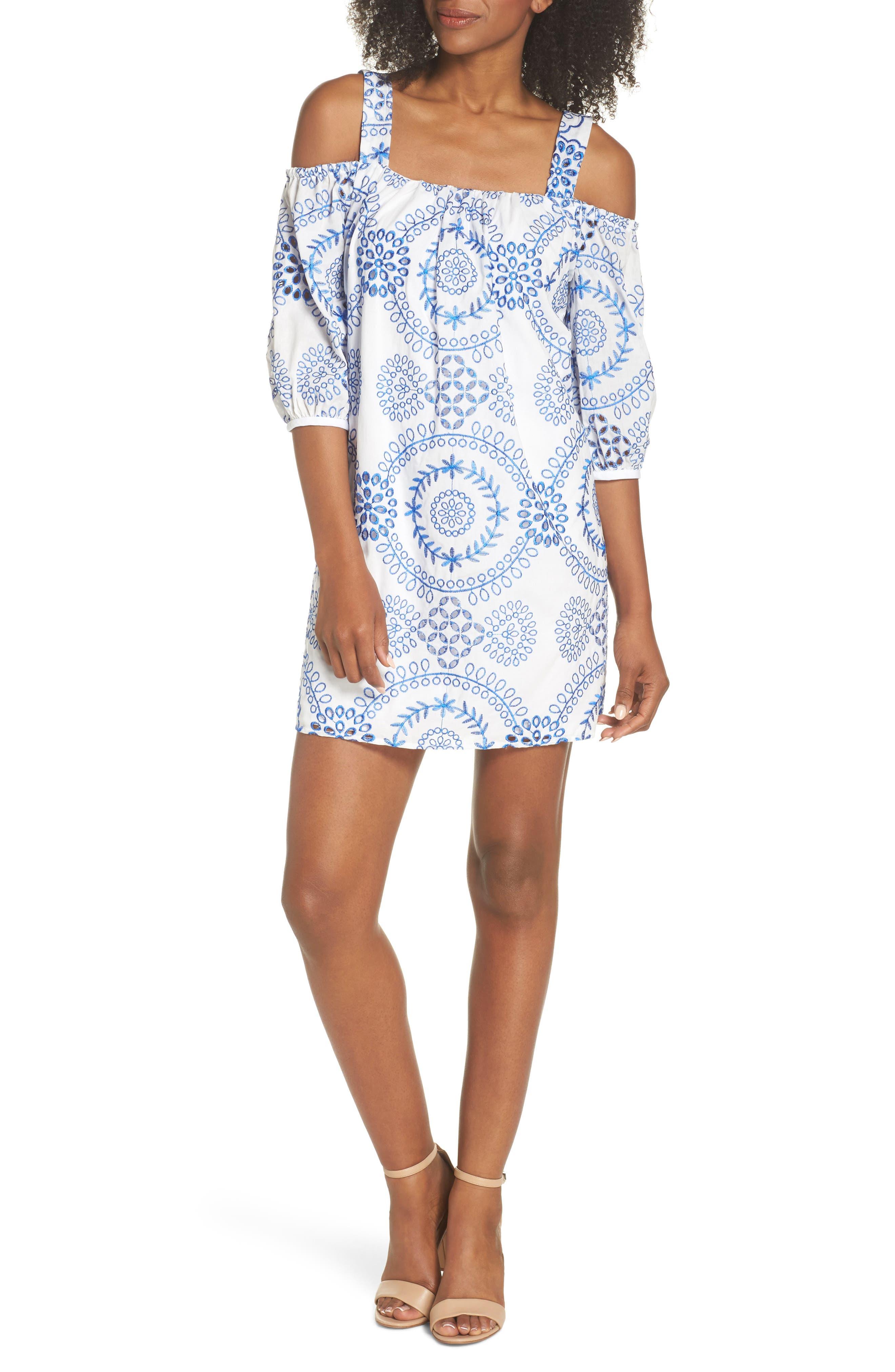 Tonie Cold Shoulder Dress,                             Main thumbnail 1, color,                             White/ Blue Astor