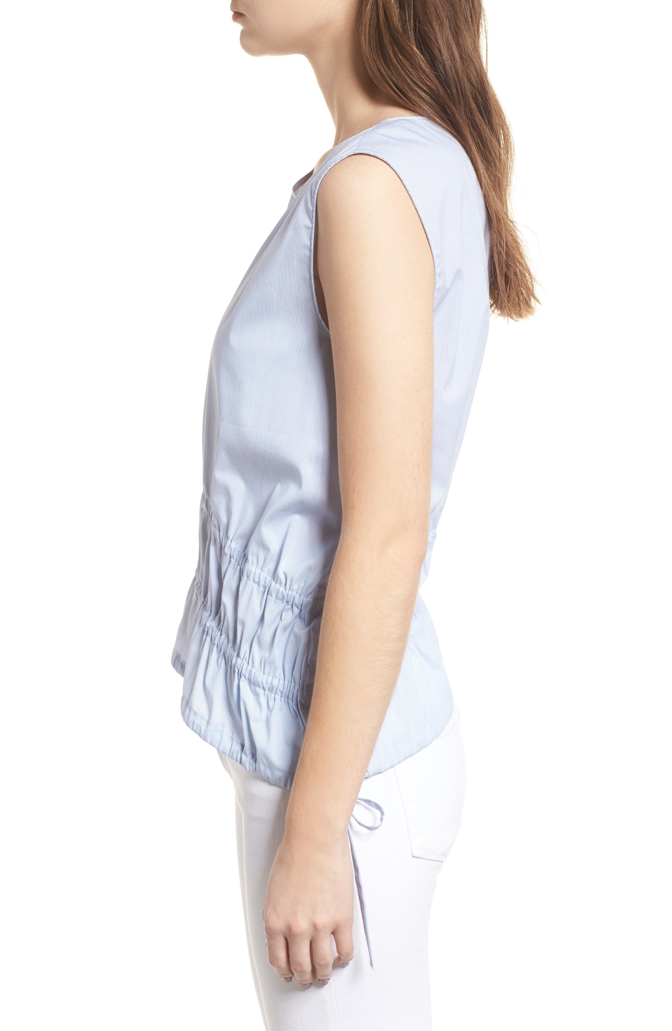 Ruched Poplin Top,                             Alternate thumbnail 4, color,                             Blue/ White Pinstripe