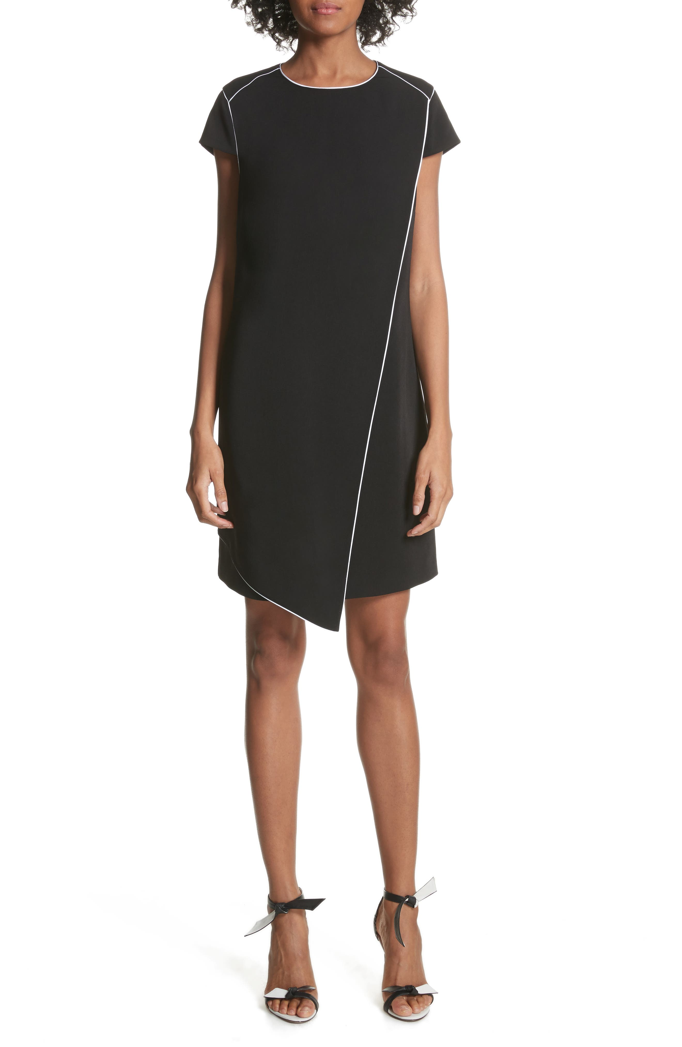 Artiro Asymmetrical Shift Dress,                             Main thumbnail 1, color,                             Black