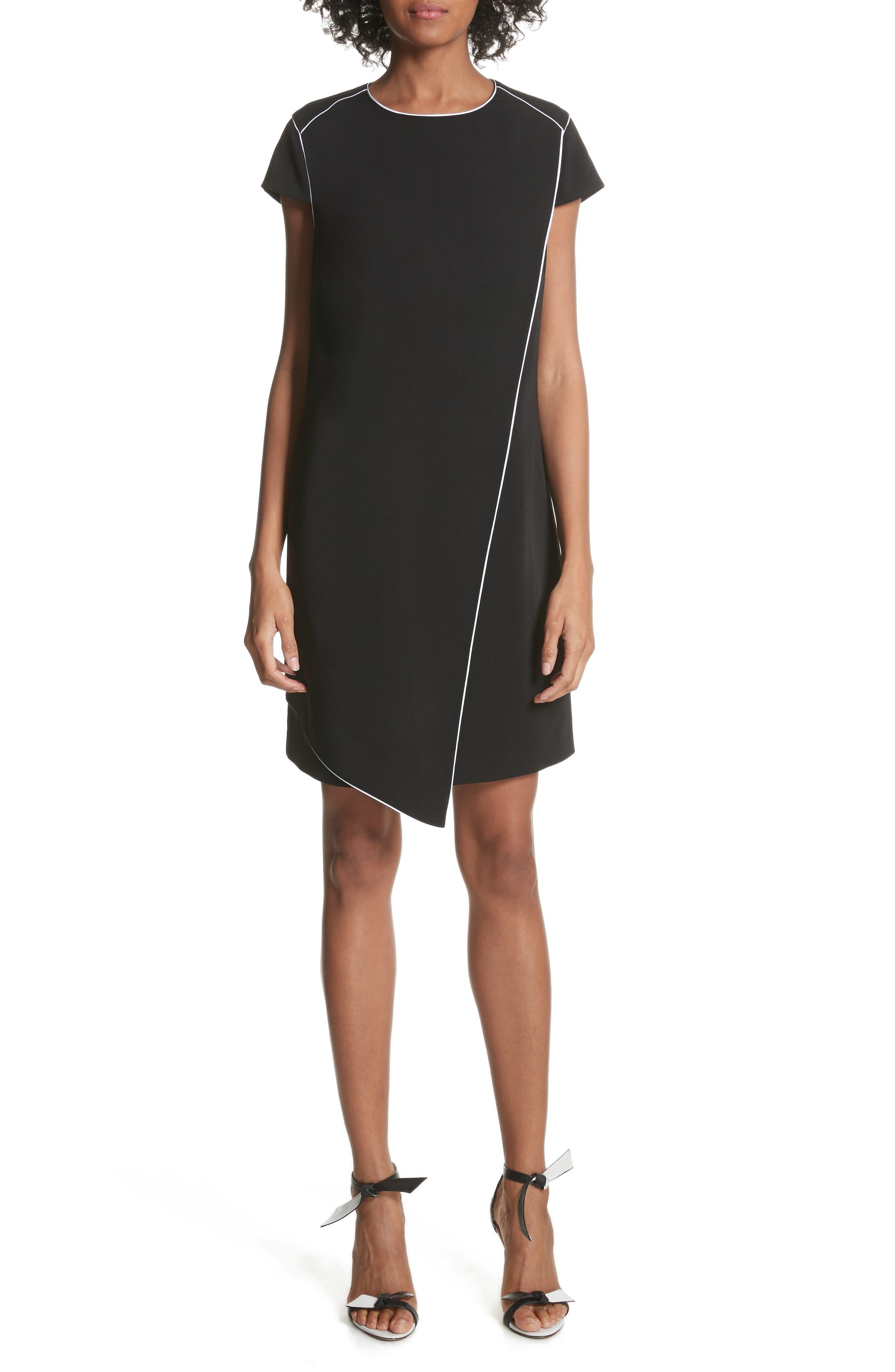 Artiro Asymmetrical Shift Dress,                         Main,                         color, Black