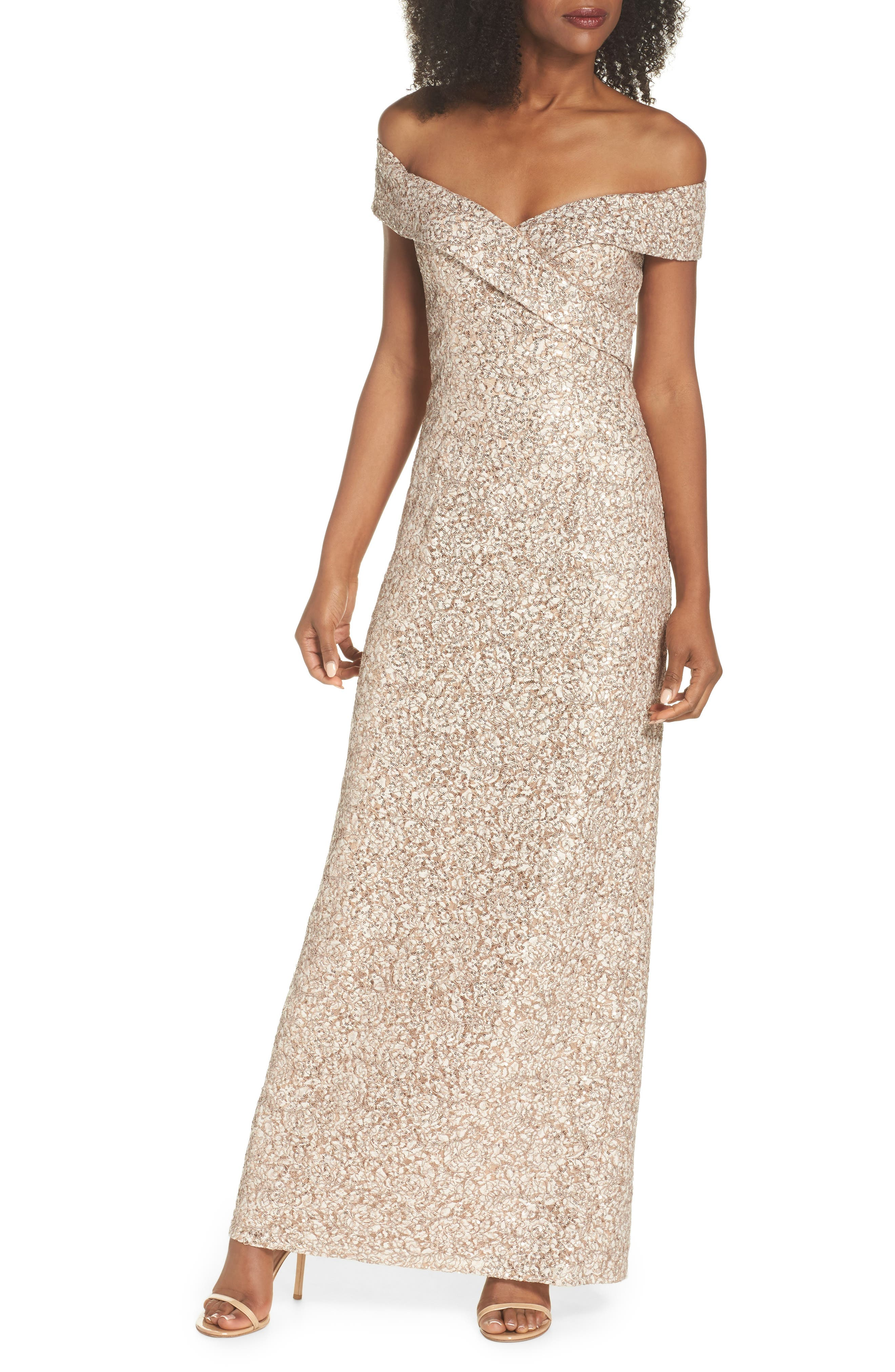 Off the Shoulder Sequin & Lace Gown,                             Main thumbnail 1, color,                             Taupe