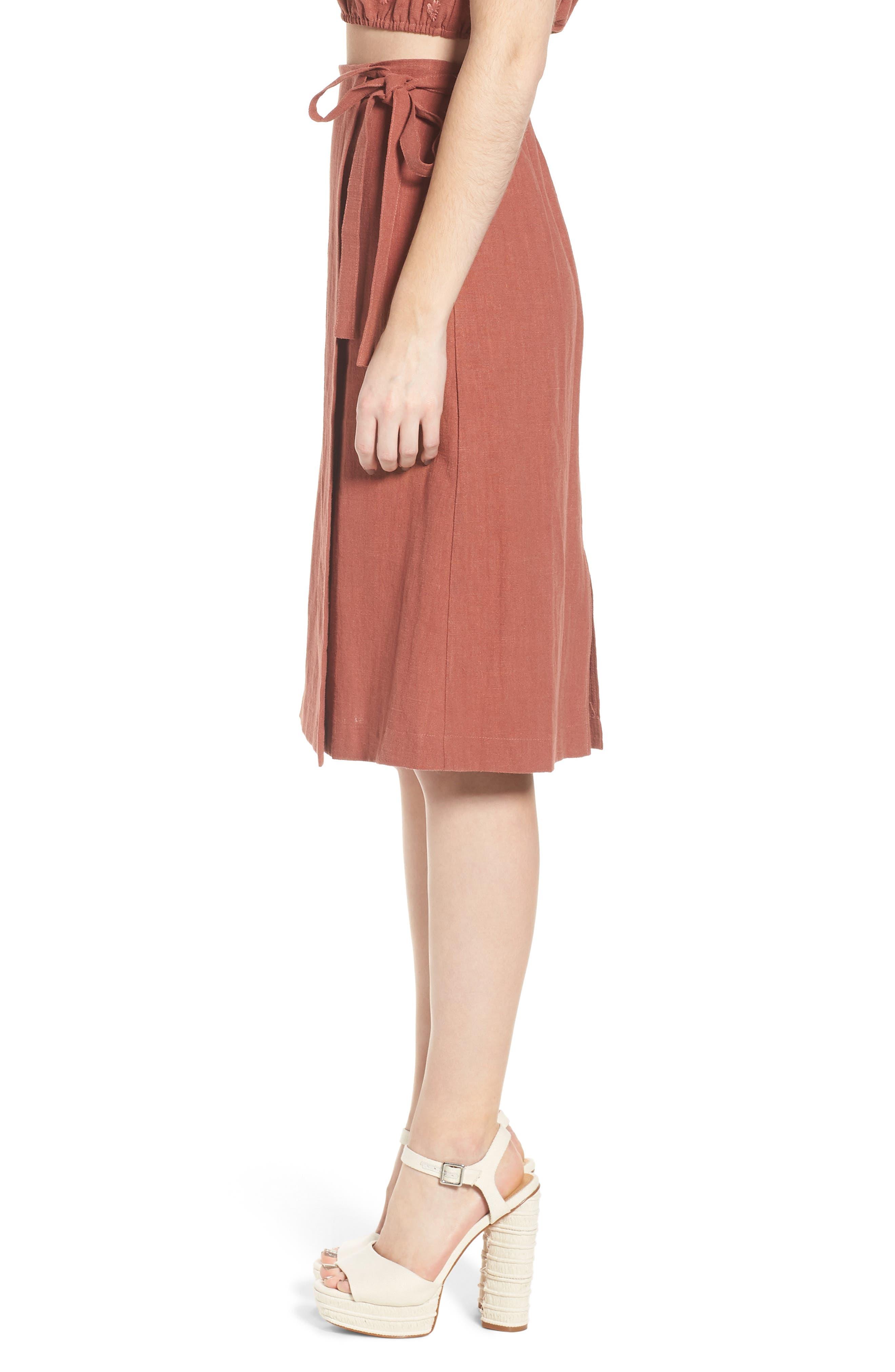 Wrap A-Line Skirt,                             Alternate thumbnail 4, color,                             Rust