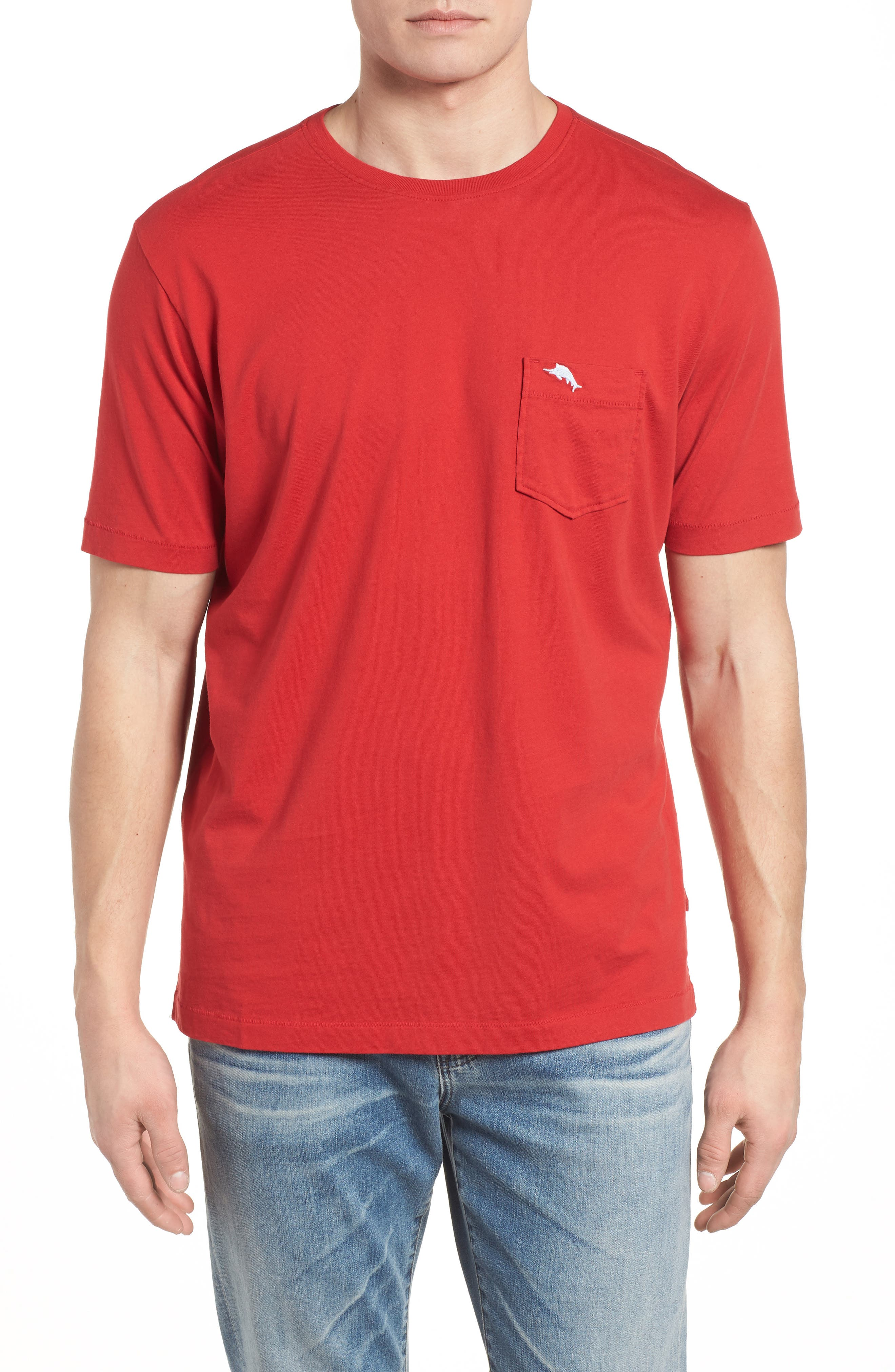'New Bali Sky' Original Fit Crewneck Pocket T-Shirt,                             Main thumbnail 1, color,                             Regal Red