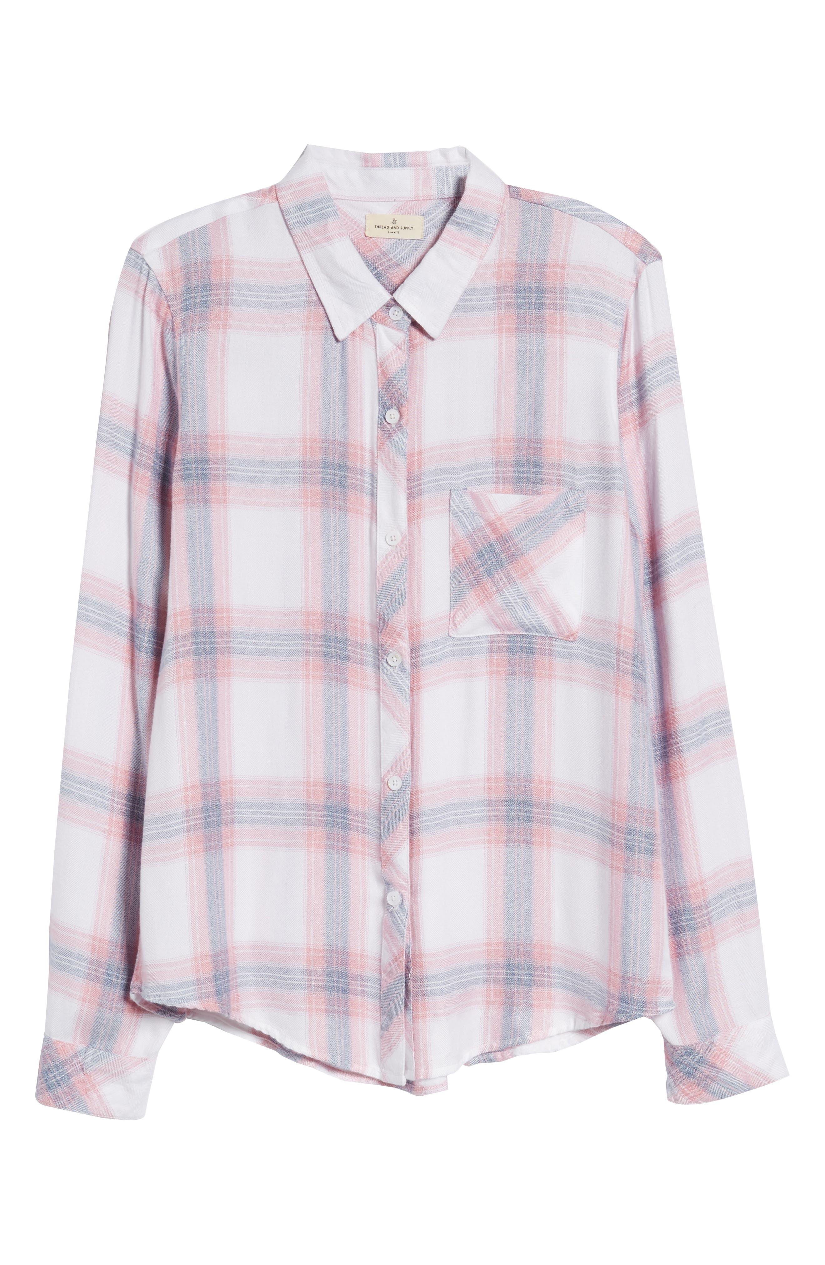 Carina Plaid Shirt,                             Alternate thumbnail 7, color,                             Red/ White Plaid