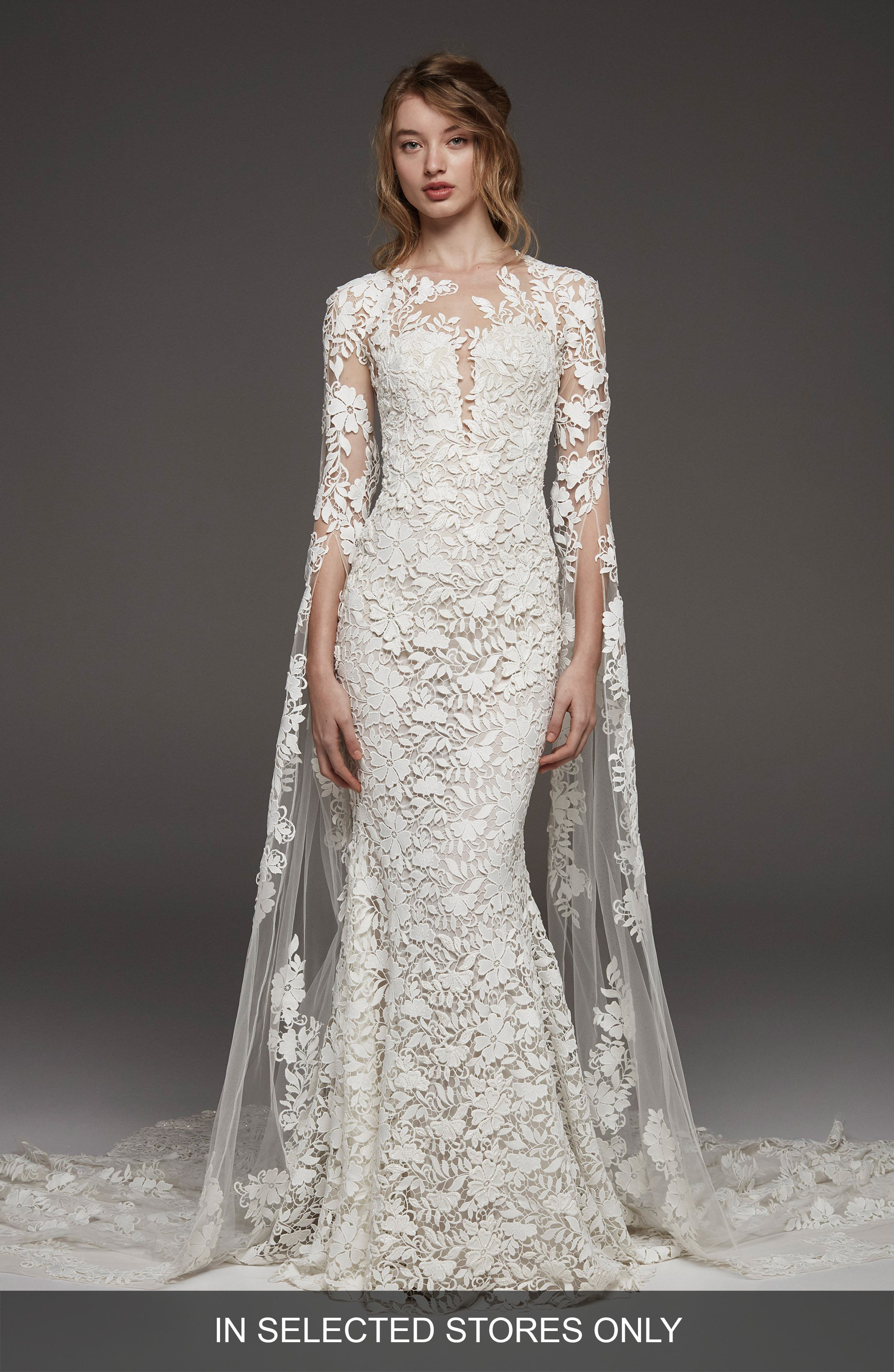 Altelier Pronovias Himalaya Sleeveless Lace Gown,                             Main thumbnail 1, color,                             Off White