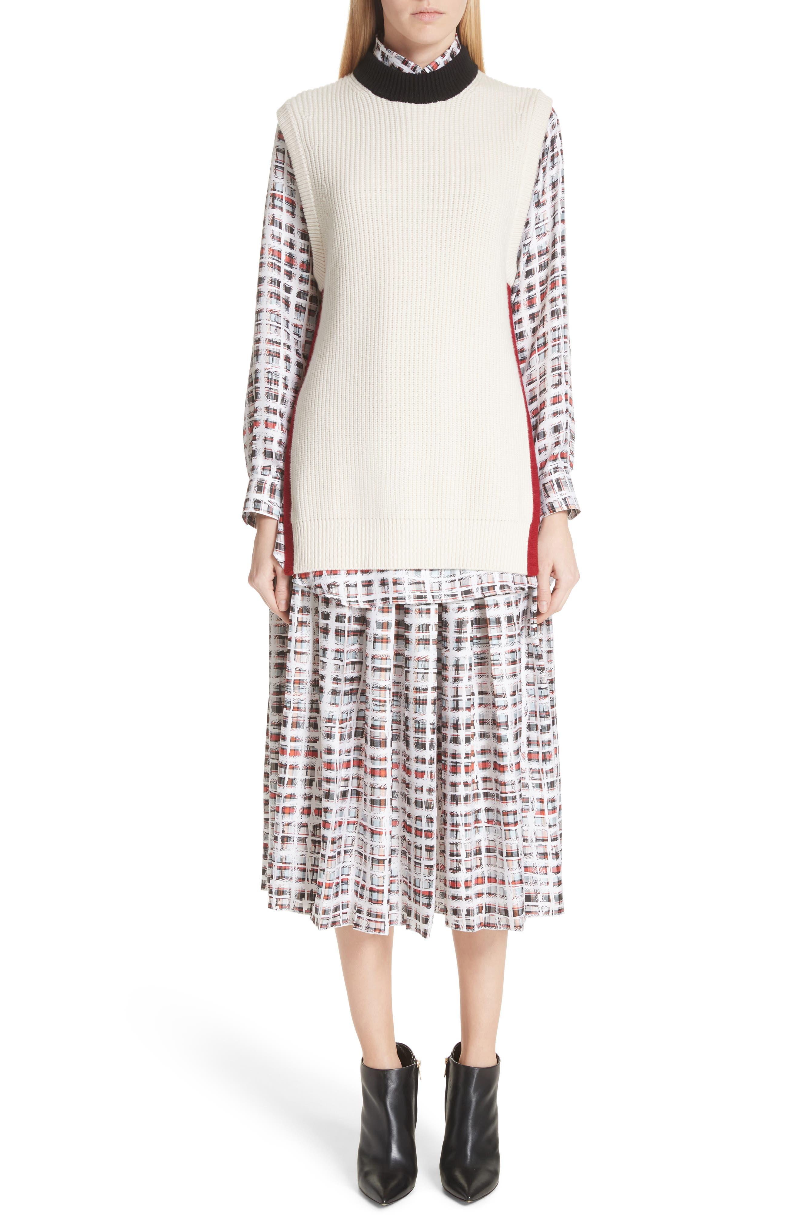 Farnborough Pleated Check Silk Midi Skirt,                             Alternate thumbnail 7, color,                             Cadmium Red