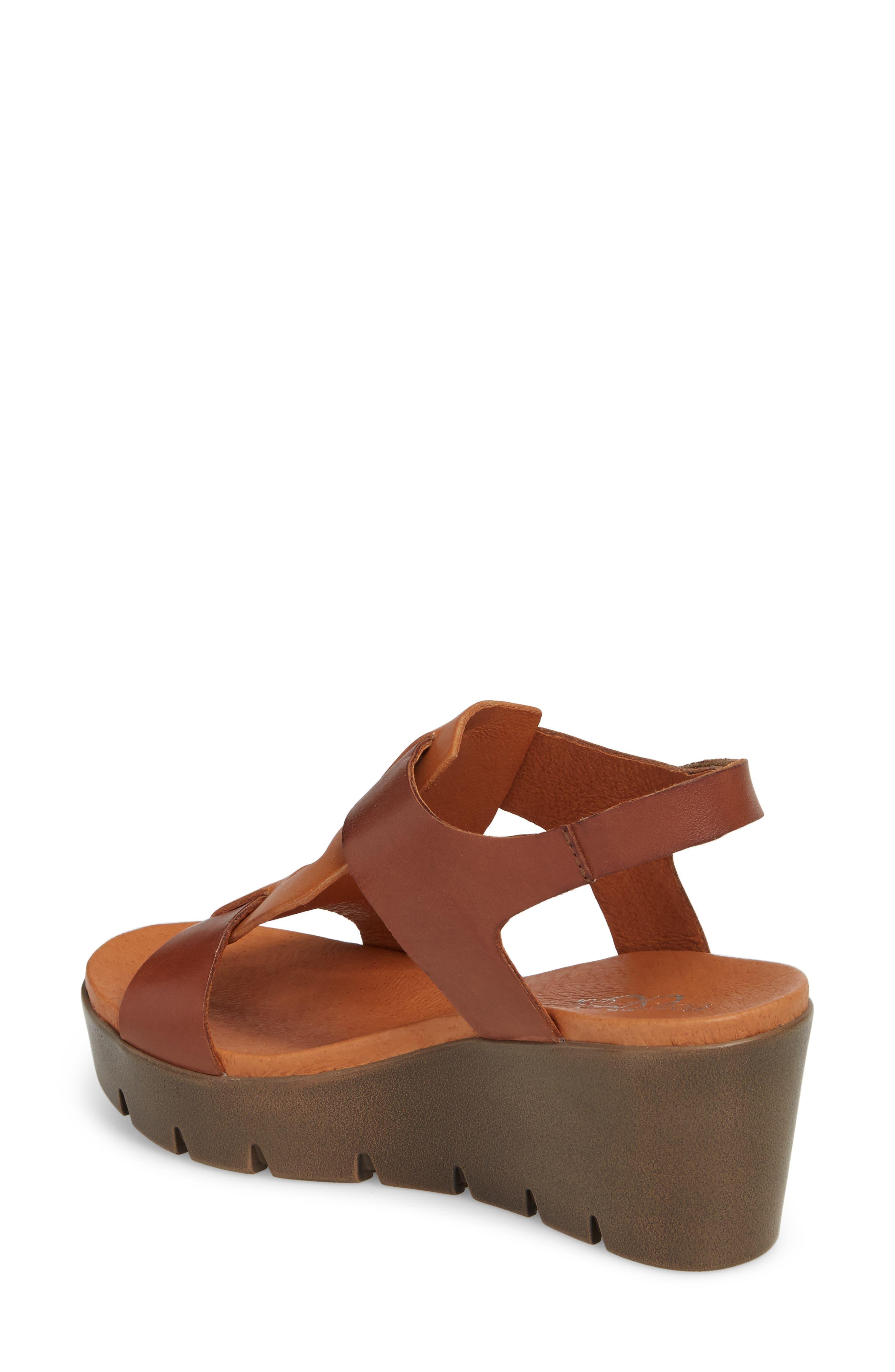 Somo Platform Wedge Sandal,                             Alternate thumbnail 2, color,                             Cognac/ Camel Leather