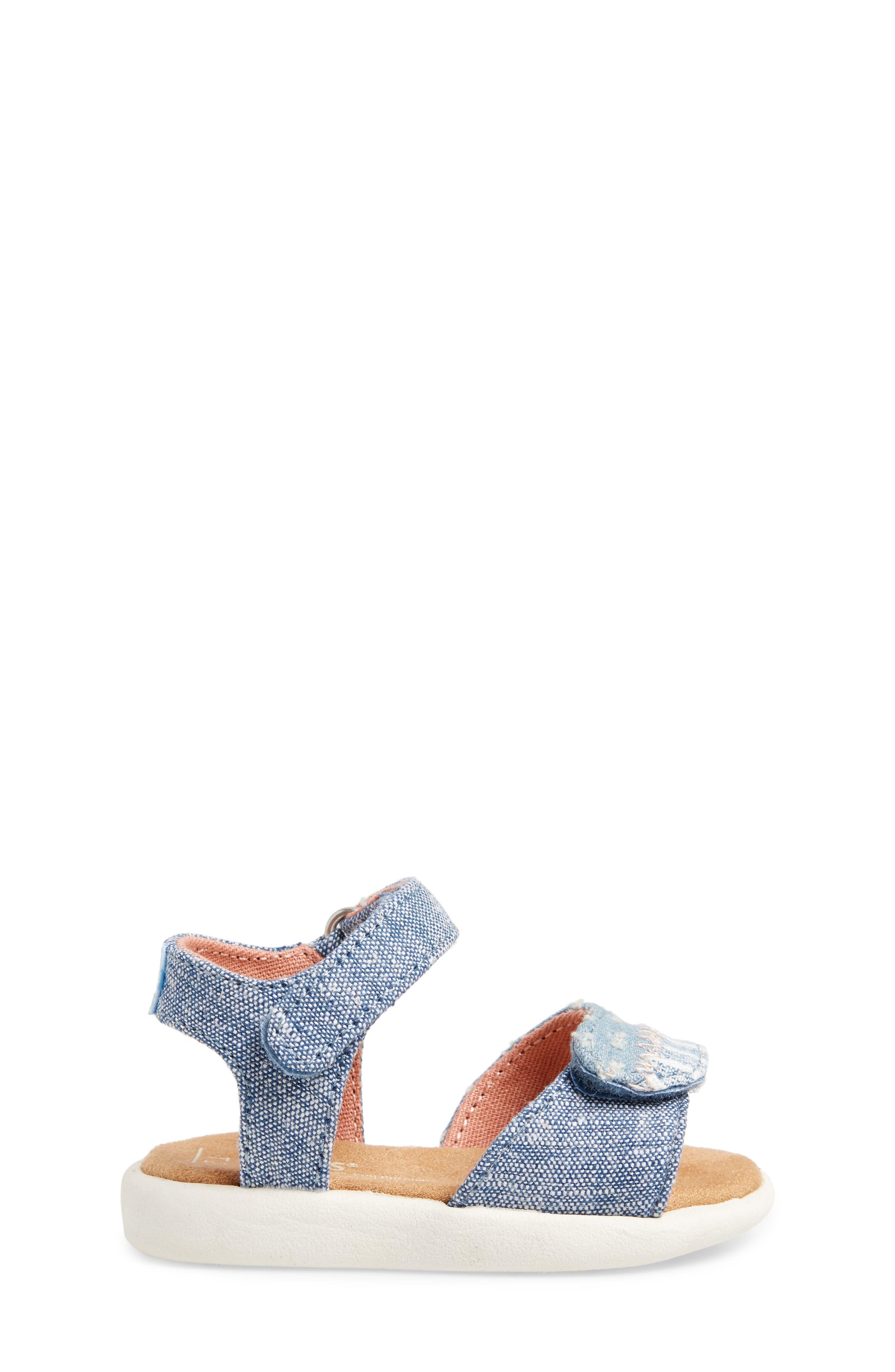 Strappy Sandal,                             Alternate thumbnail 3, color,                             Blue Slub Chambray