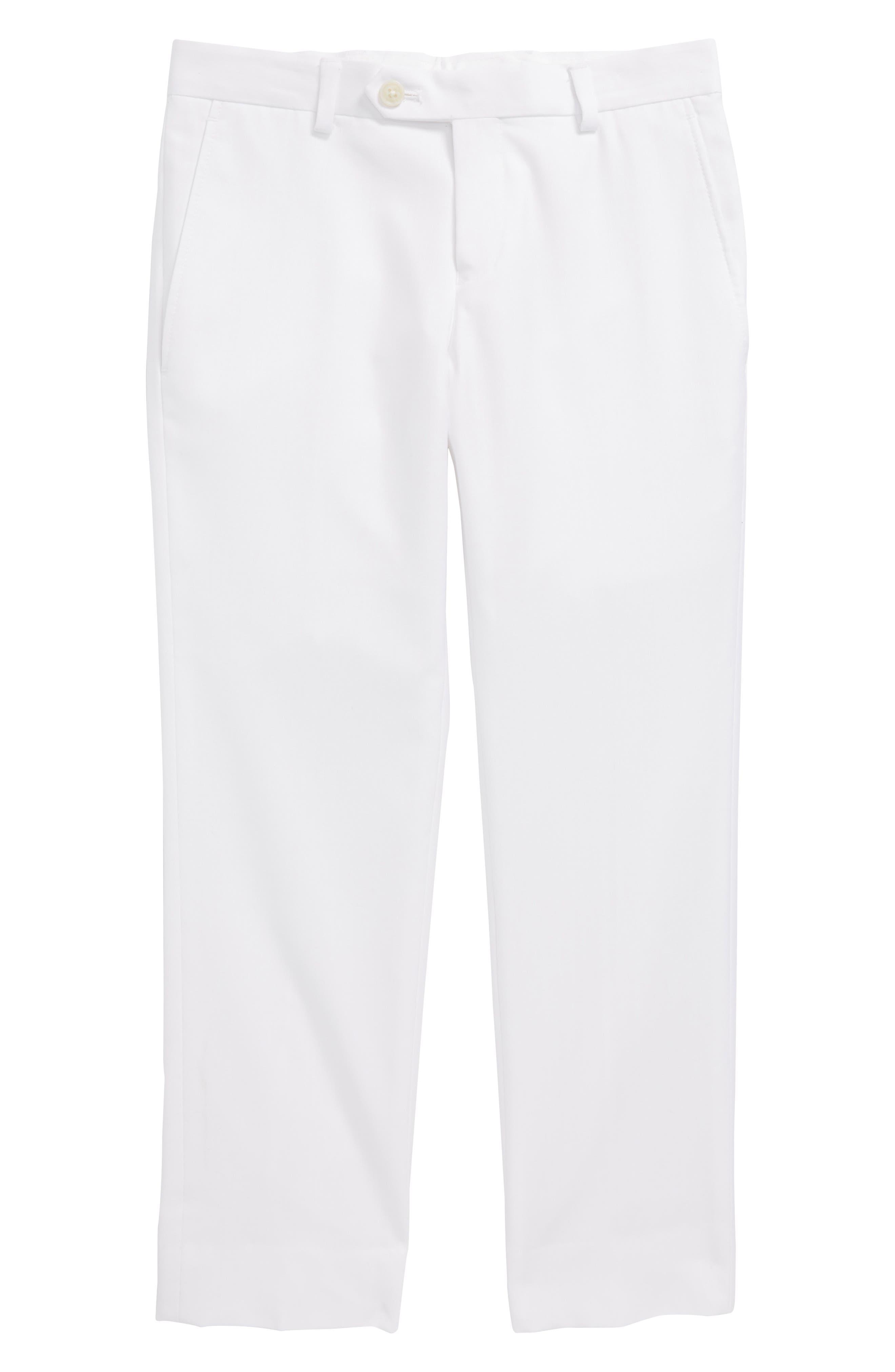 Flat Front Pants,                         Main,                         color, White