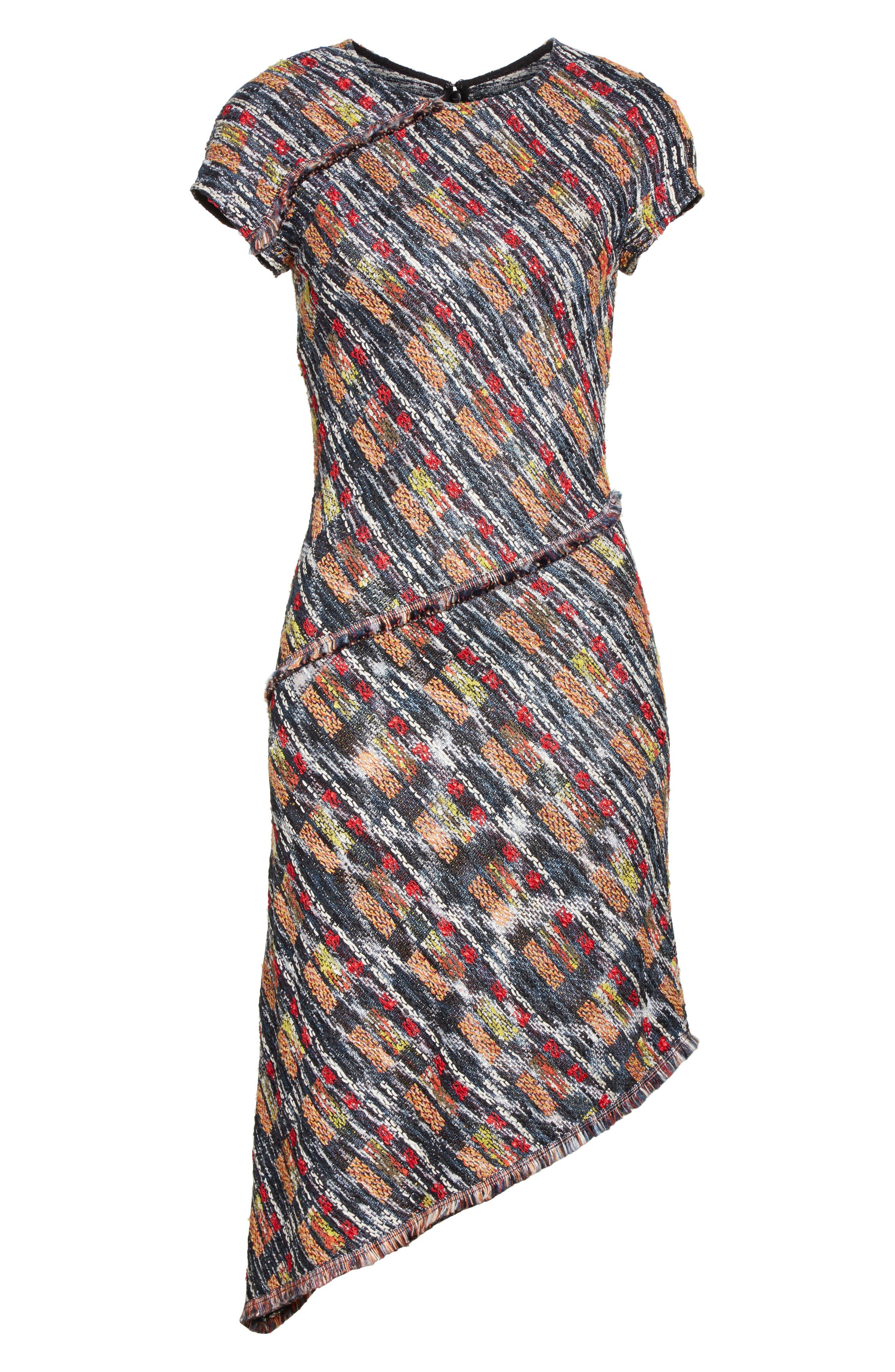 Painterly Tweed Knit Asymmetrical Dress,                             Alternate thumbnail 7, color,                             Caviar Multi