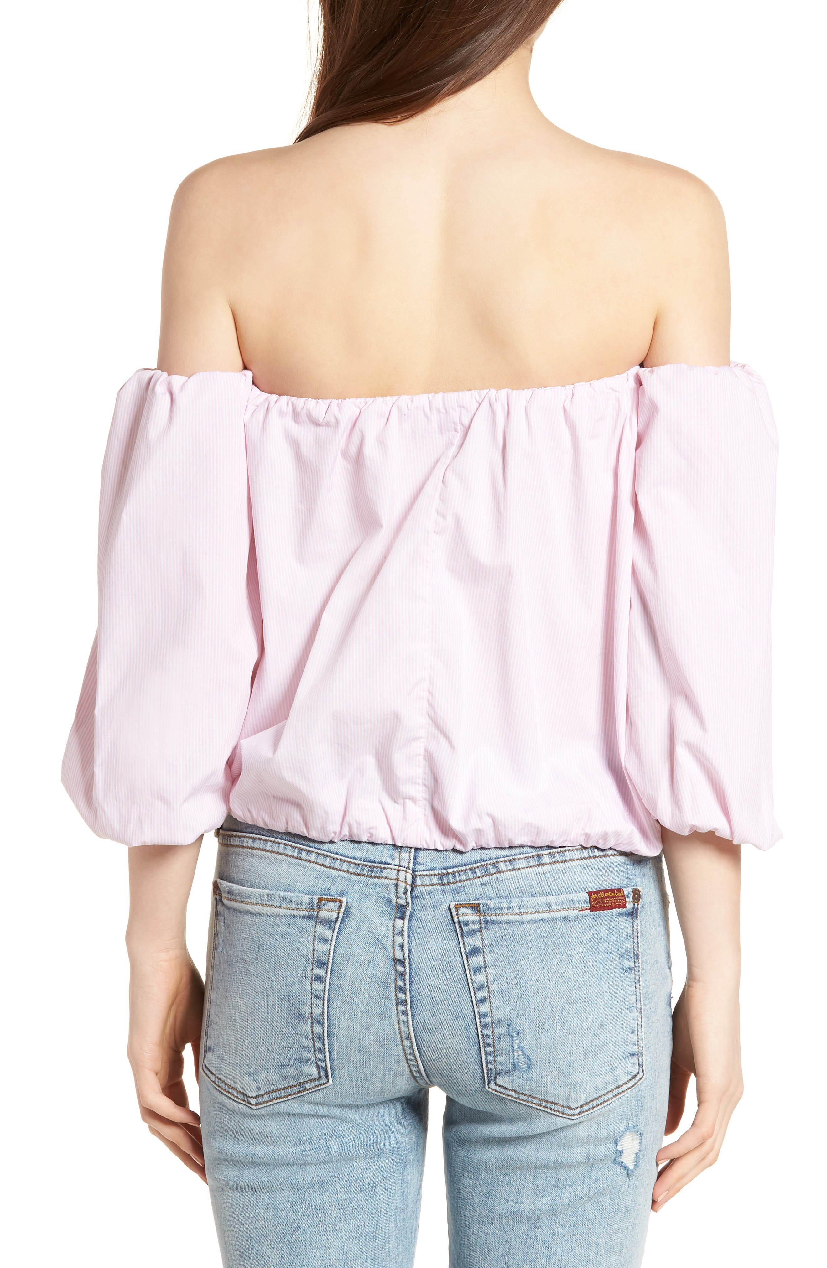 Off the Shoulder Top,                             Alternate thumbnail 2, color,                             Pink/ White