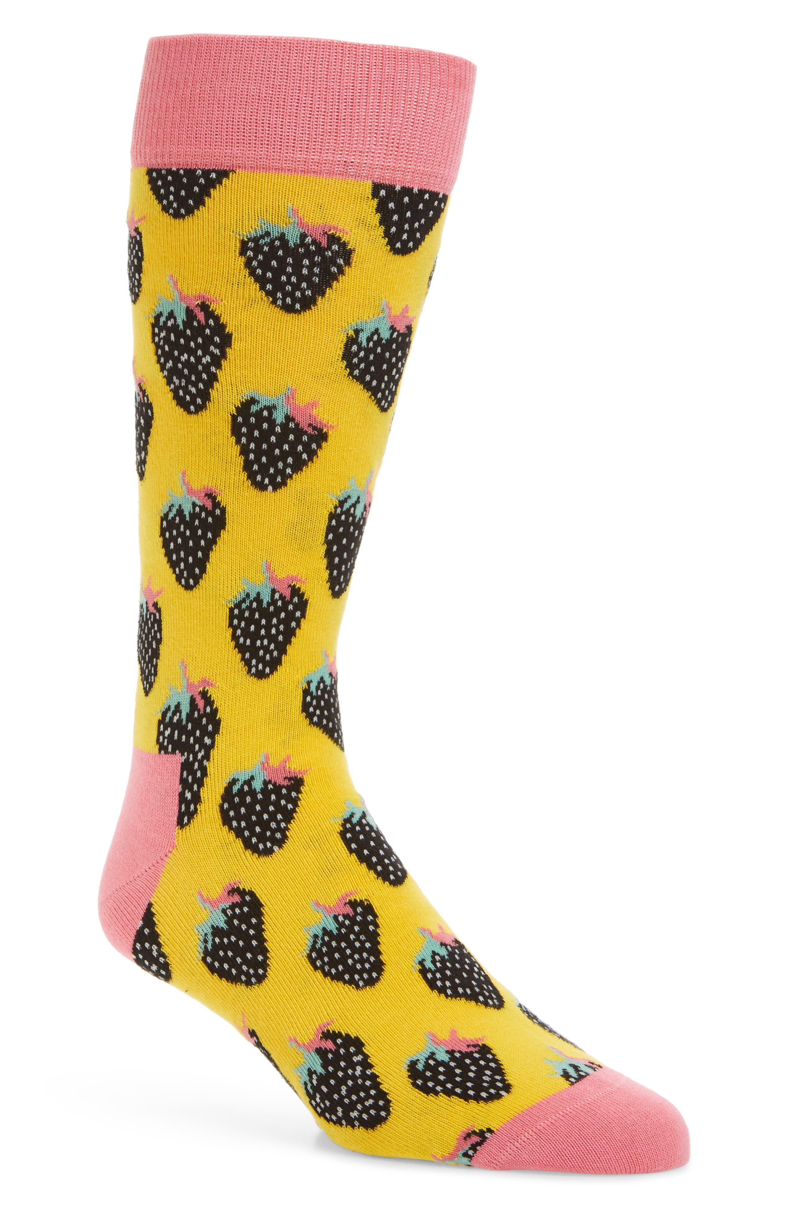 Strawberry Crew Socks,                             Main thumbnail 1, color,                             Light Pink