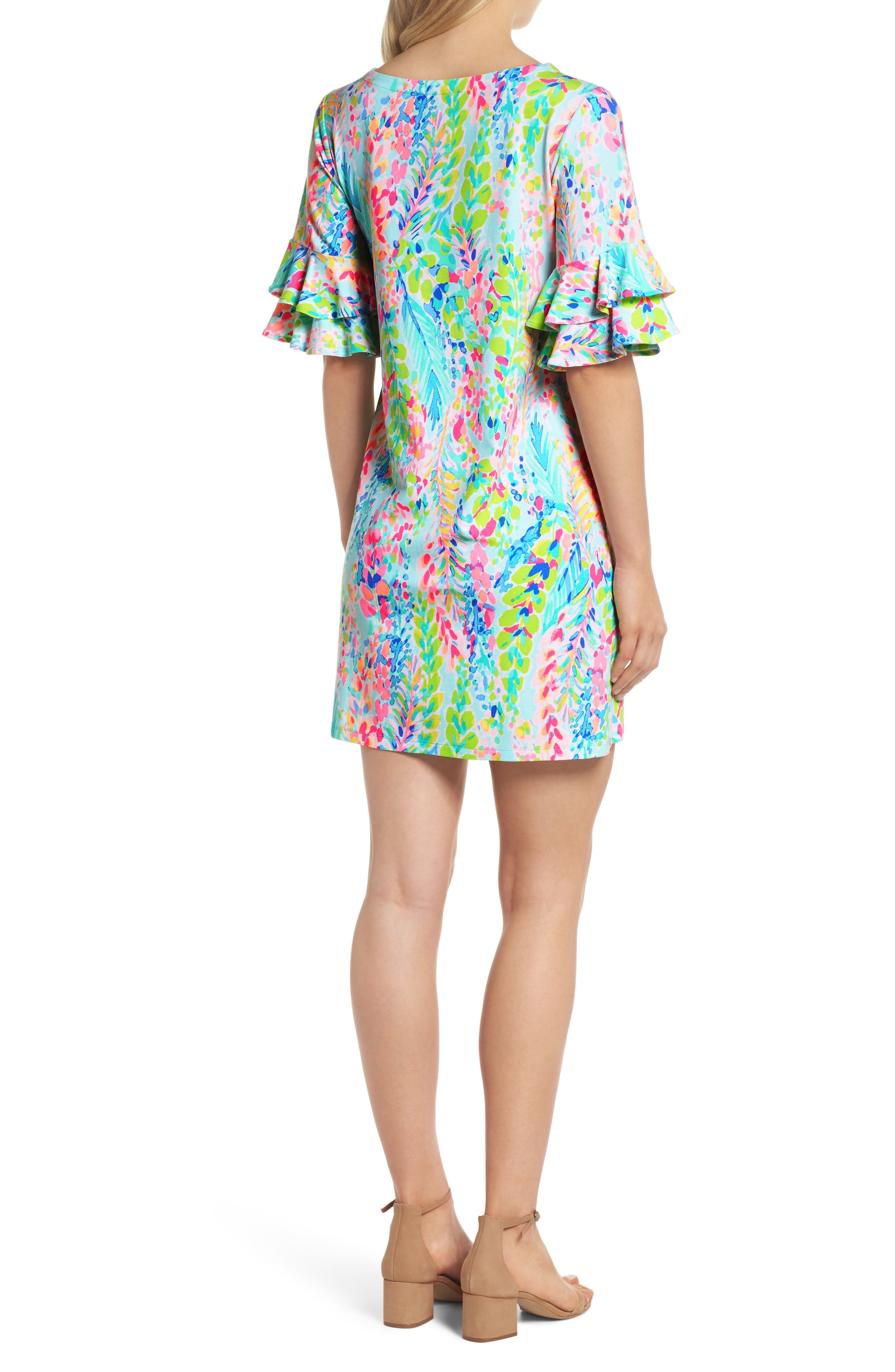 Lula Ruffle Sleeve Dress,                             Alternate thumbnail 5, color,                             Multi Catch The Wave