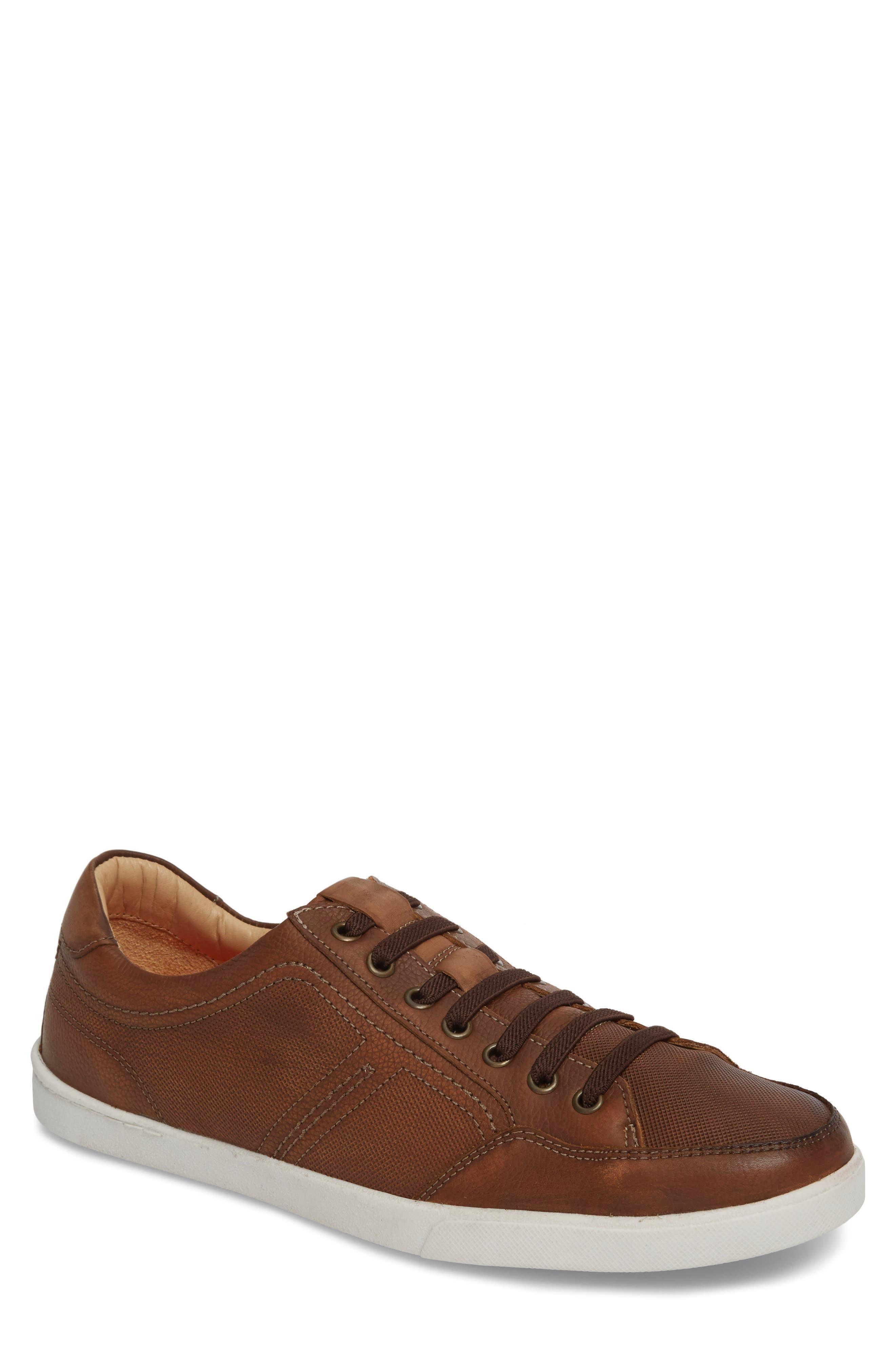 Quinton Textured Low Top Sneaker,                             Main thumbnail 1, color,                             Tan Leather