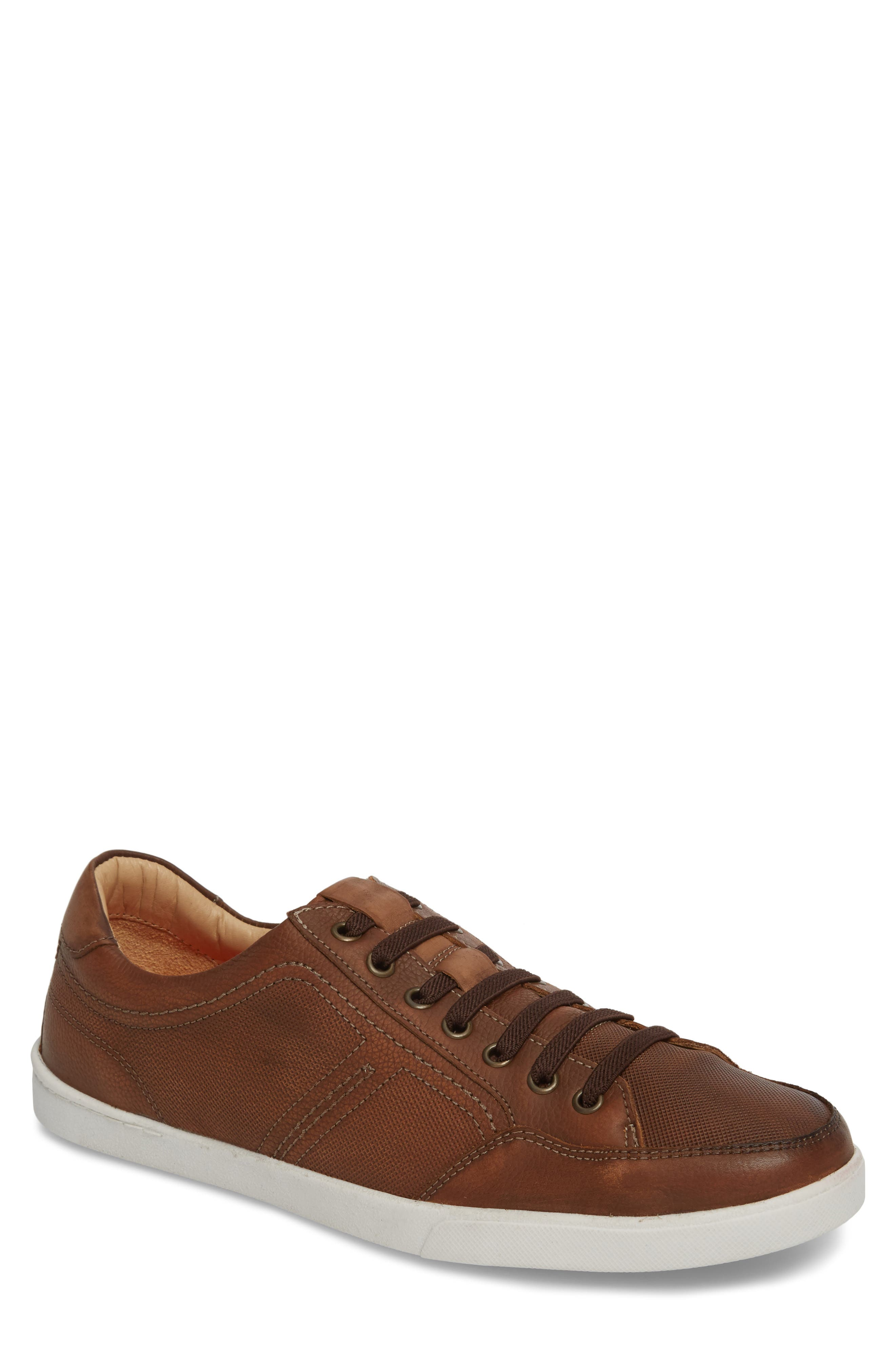 Quinton Textured Low Top Sneaker,                         Main,                         color, Tan Leather