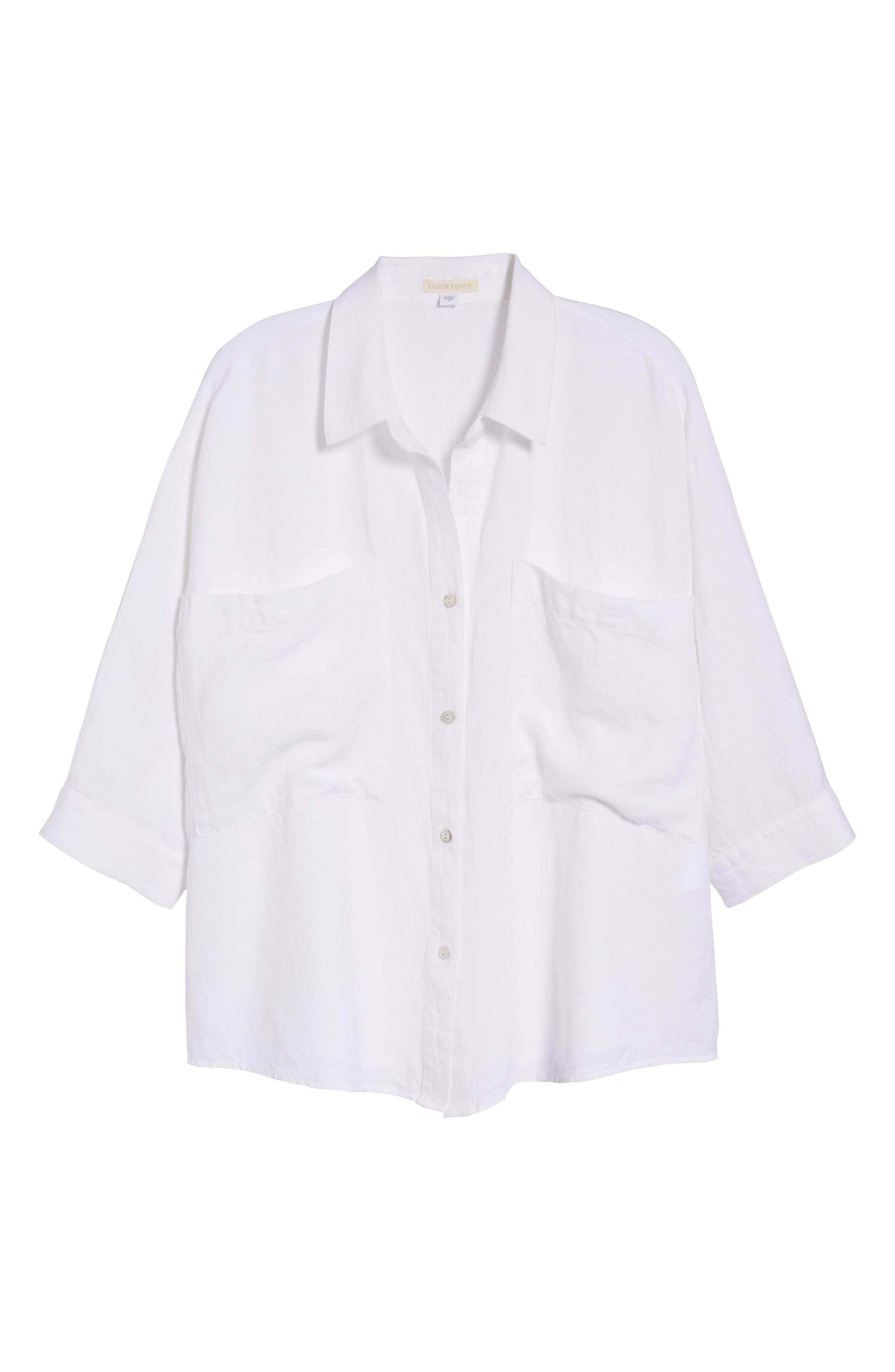 Woven Linen Blend Blouse,                             Alternate thumbnail 7, color,                             White