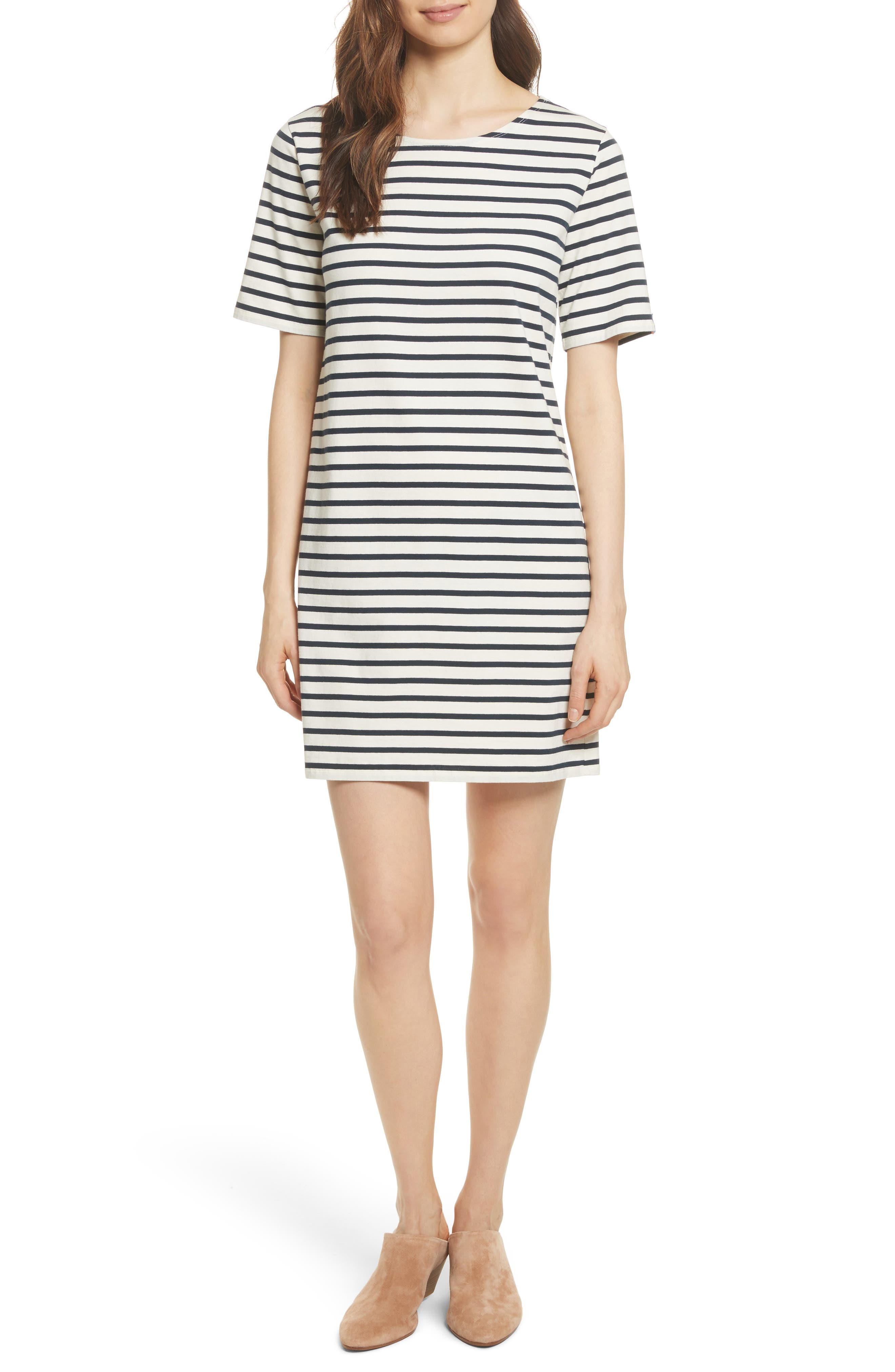 The Tee Stripe Dress,                             Main thumbnail 1, color,                             Cream/ Navy