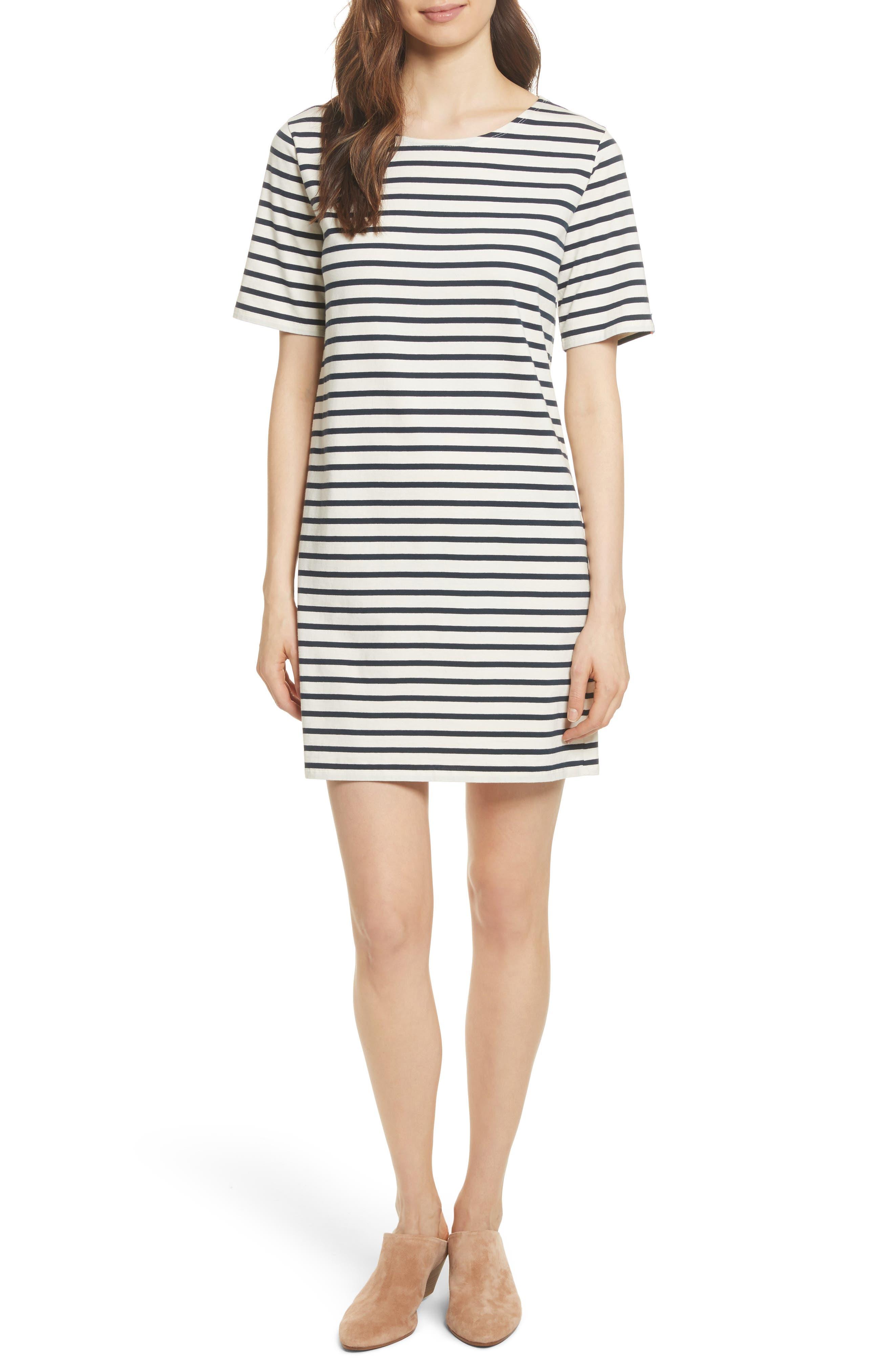 The Tee Stripe Dress,                         Main,                         color, Cream/ Navy