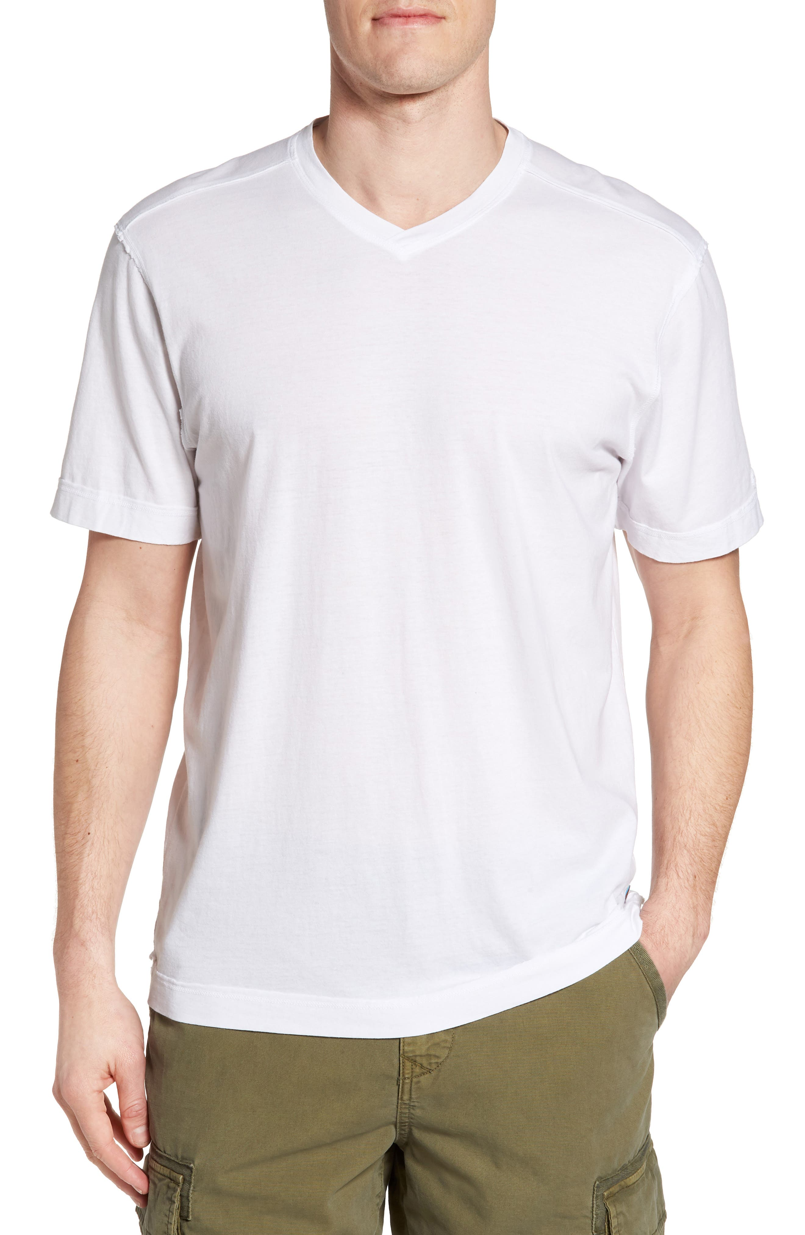 Cross Raw Seam V-Neck T-Shirt,                         Main,                         color, White