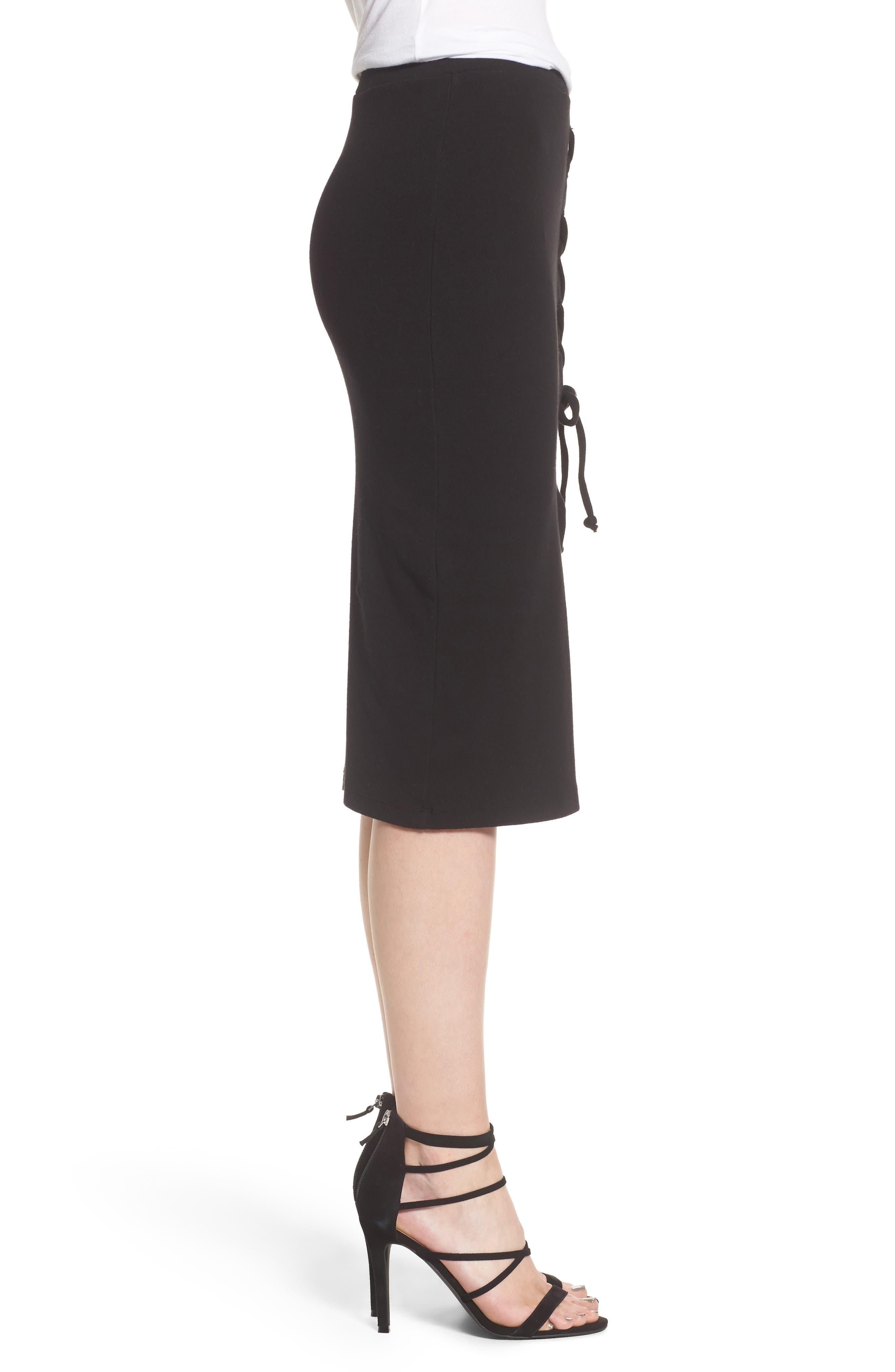 Rib Knit Lace-Up Skirt,                             Alternate thumbnail 3, color,                             Black