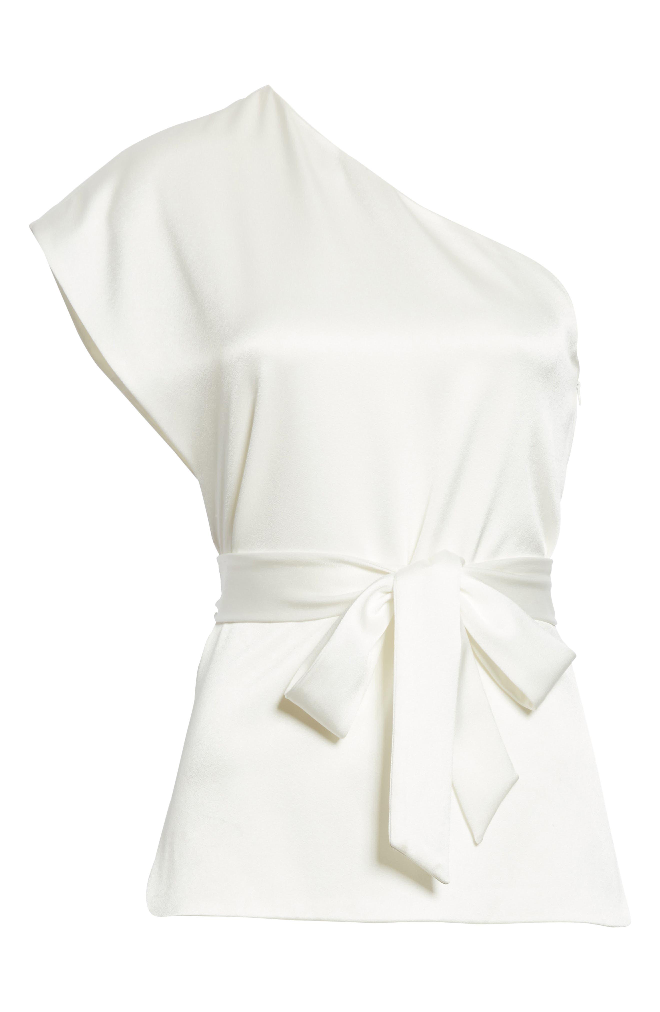 Lavine One-Shoulder Top,                             Alternate thumbnail 6, color,                             White