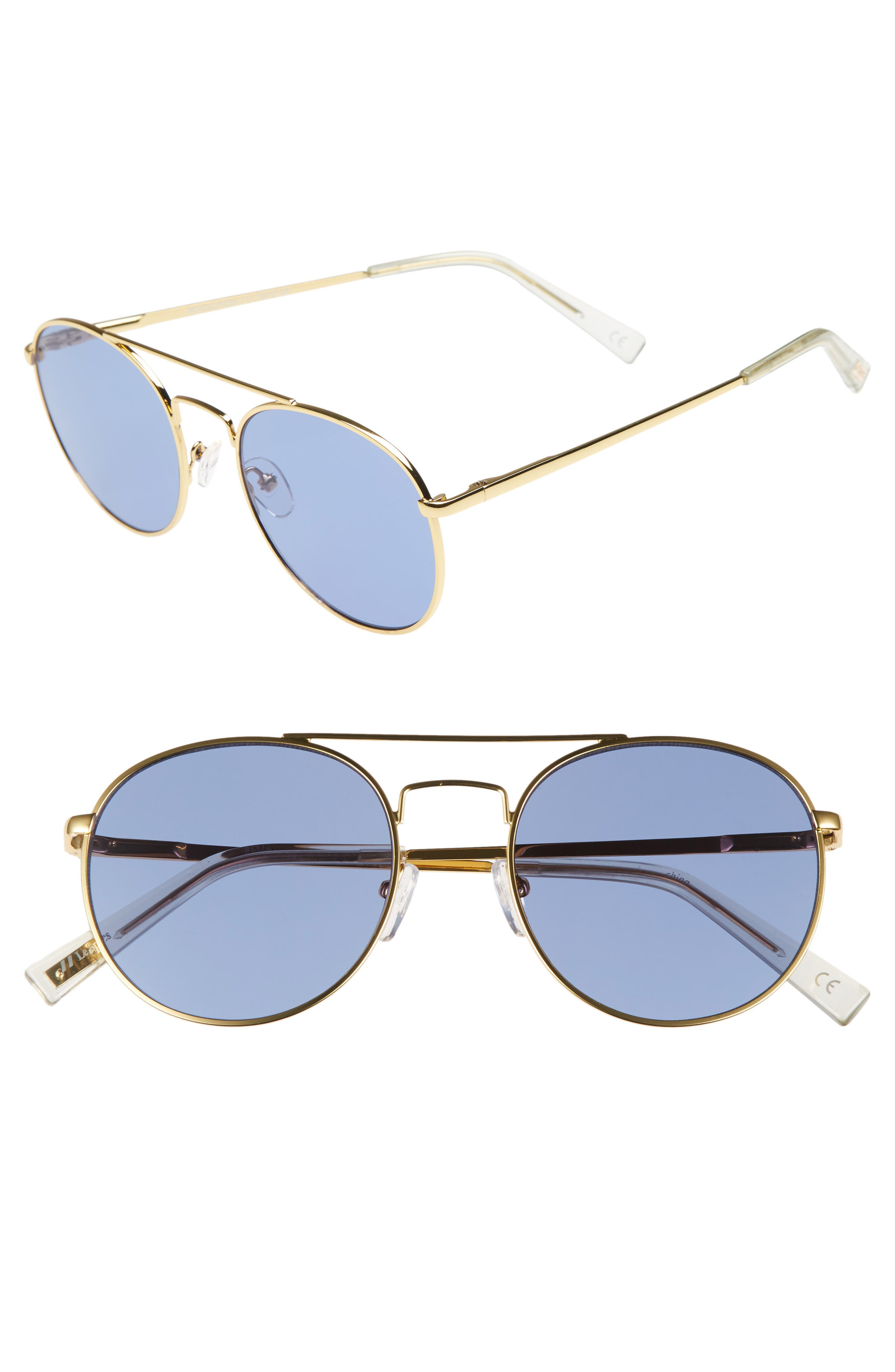 Revolution 53mm Aviator Sunglasses,                             Main thumbnail 1, color,                             Bright Gold