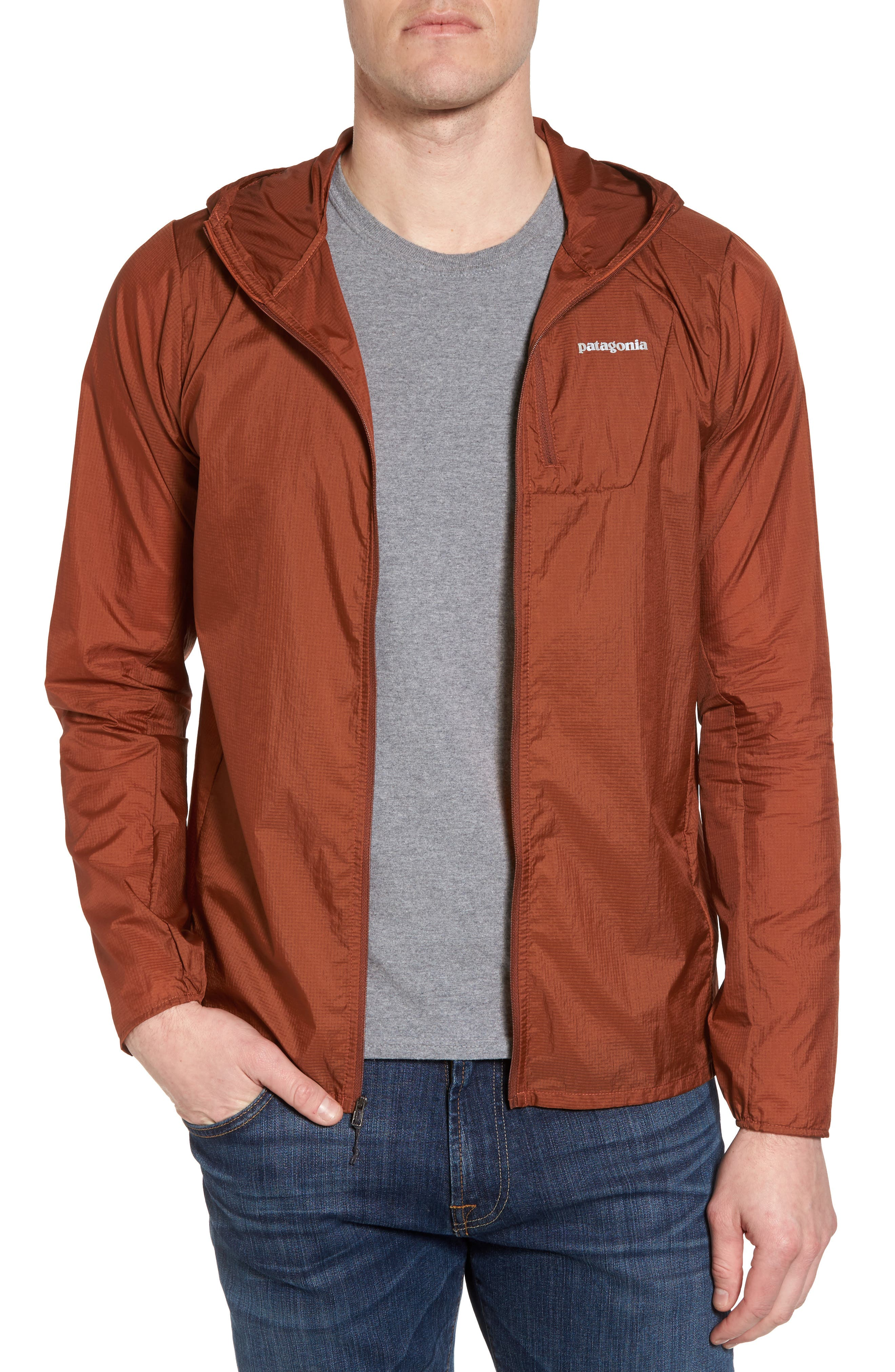 'Houdini' Slim Fit Water Repellent Hooded Jacket,                             Main thumbnail 1, color,                             Copper Ore