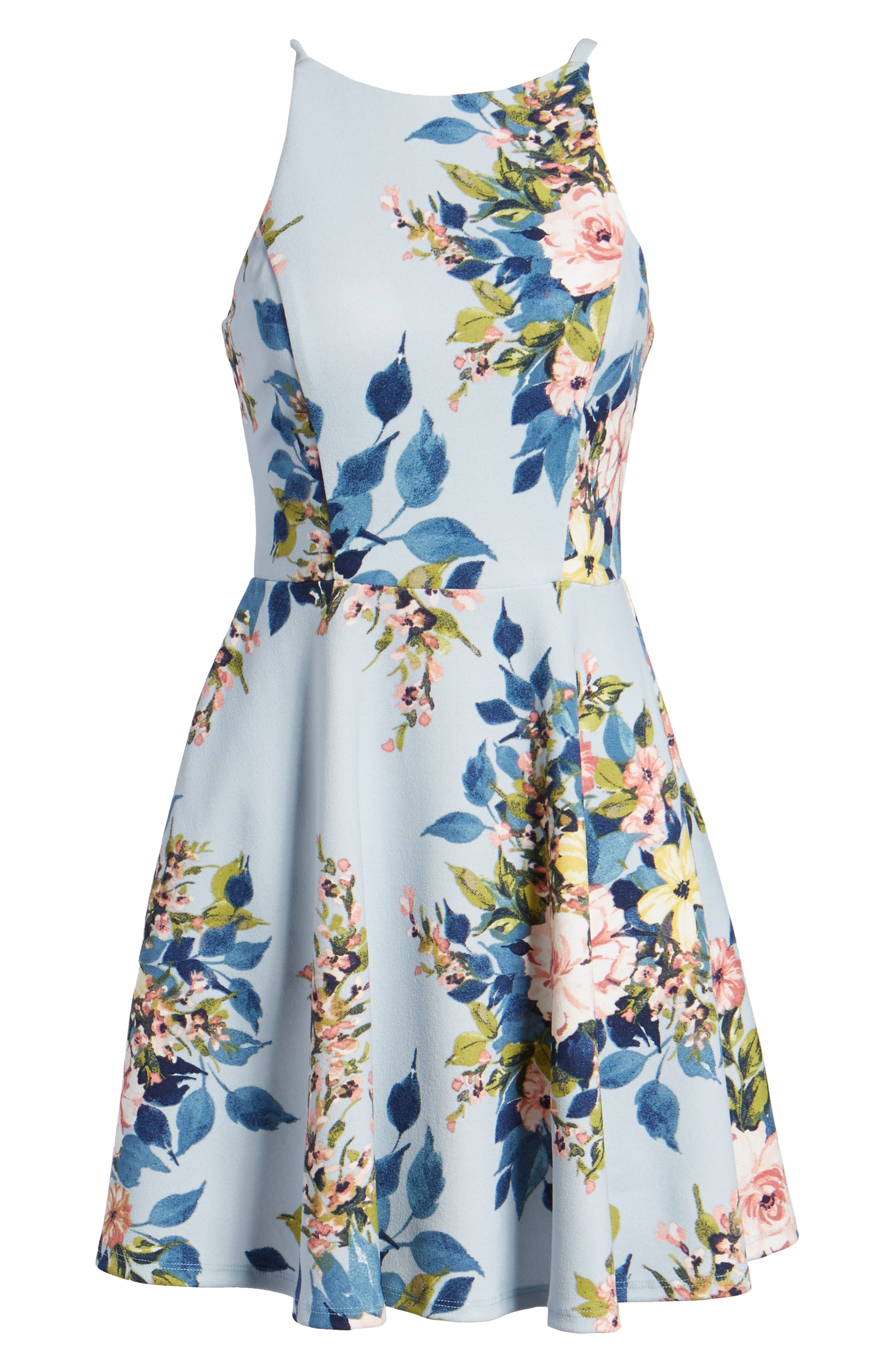 Floral Skater Dress,                             Alternate thumbnail 6, color,                             Blue/ Rose