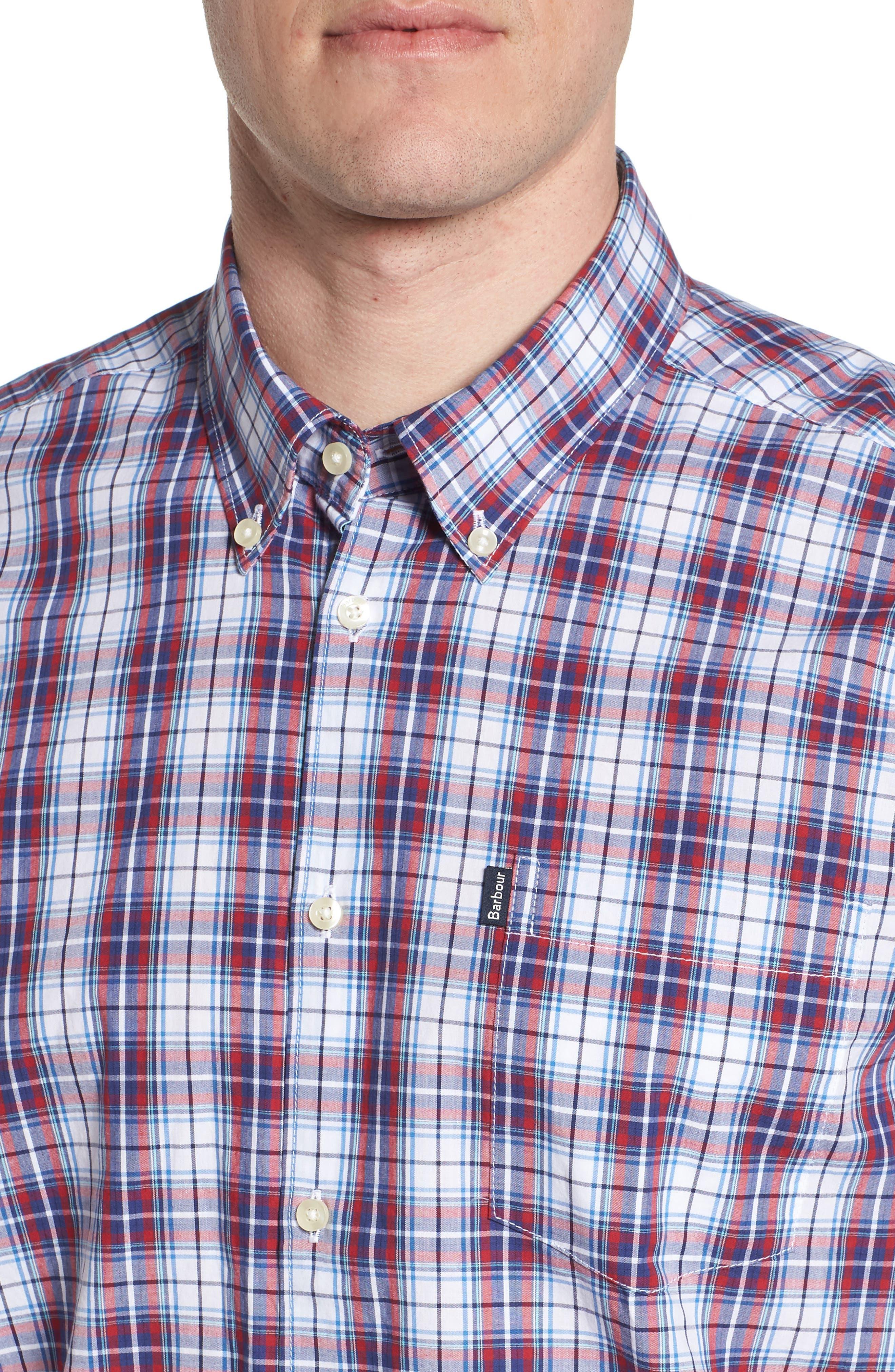 Leo Trim Fit Plaid Sport Shirt,                             Alternate thumbnail 4, color,                             Red