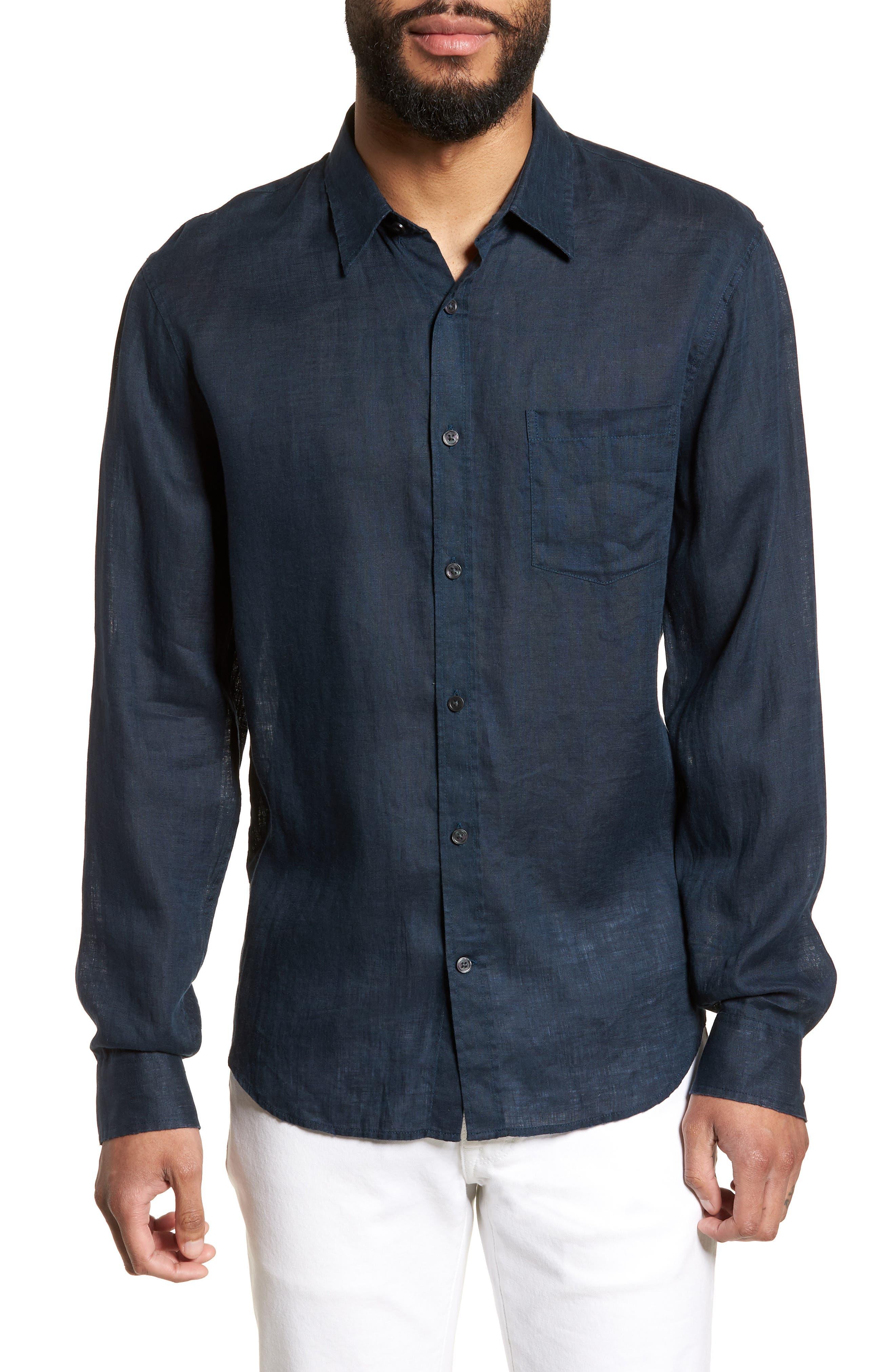 Washed Slim Fit Linen Sport Shirt,                         Main,                         color, Mechanic Blue