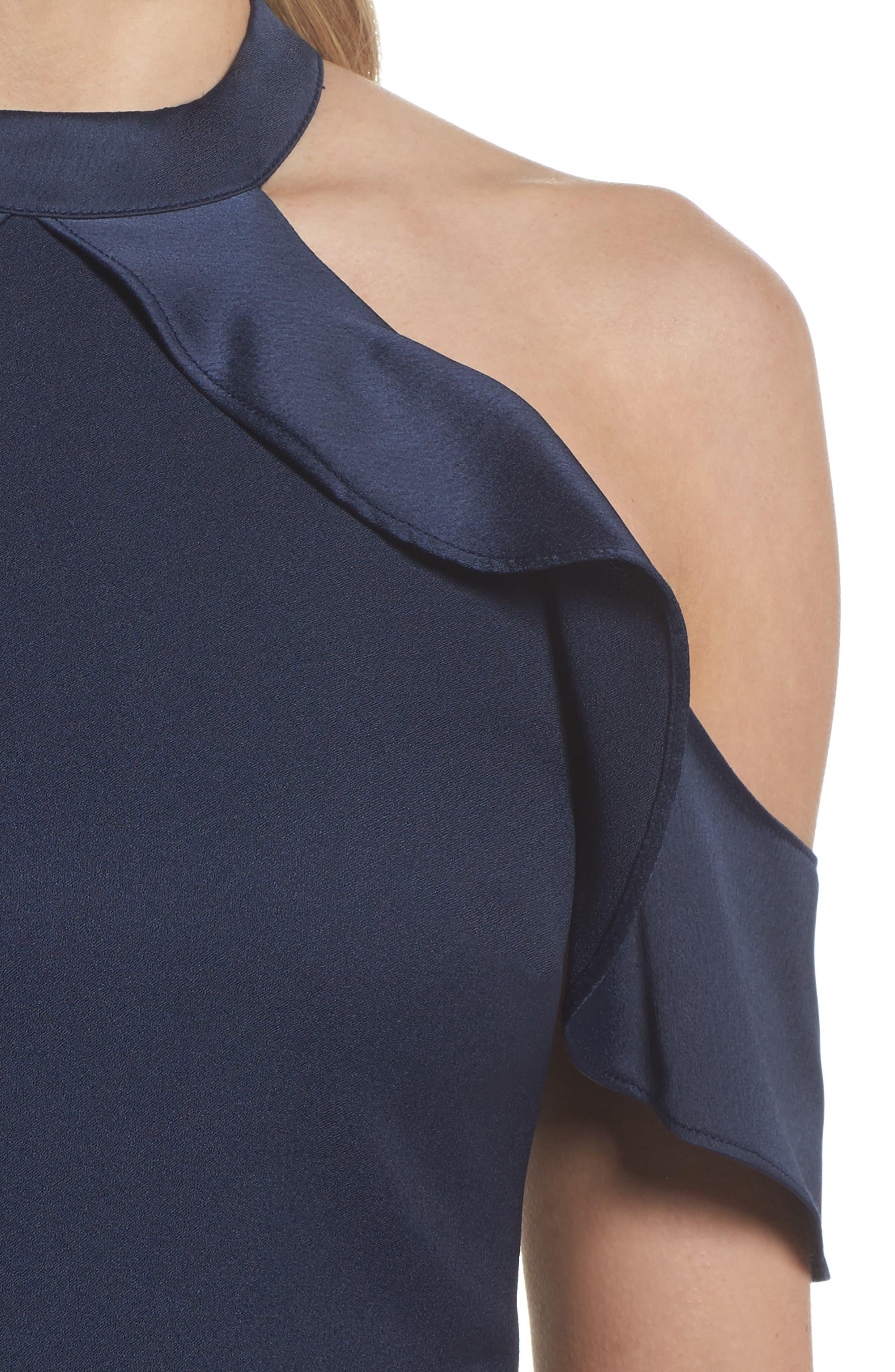 Cold Shoulder Satin Trim Dress,                             Alternate thumbnail 4, color,                             Navy