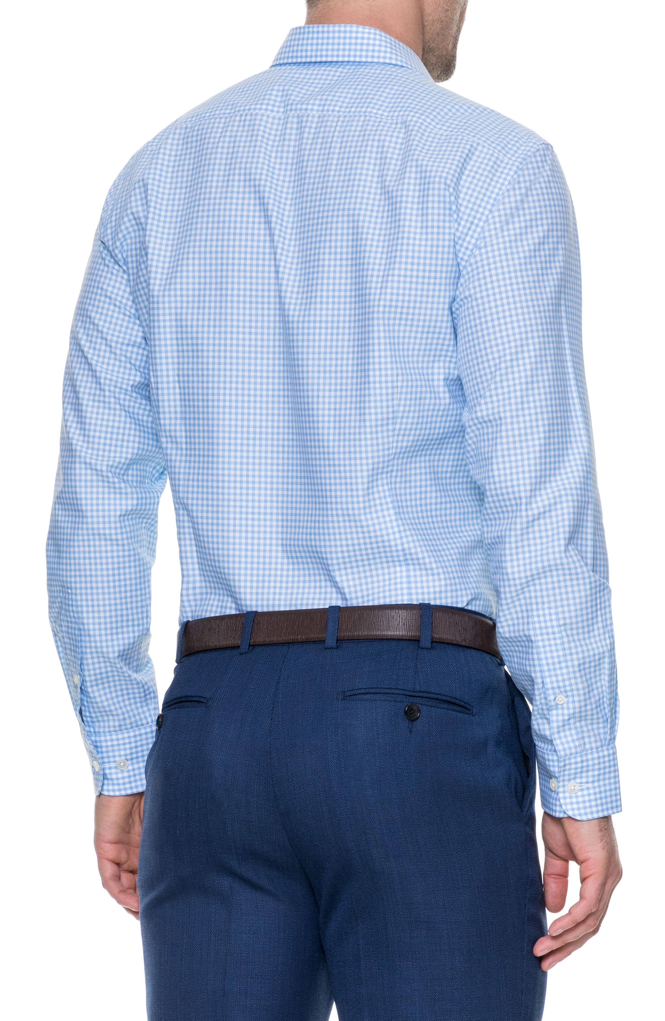 Tudor Slim Fit Check Sport Shirt,                             Alternate thumbnail 2, color,                             Sky
