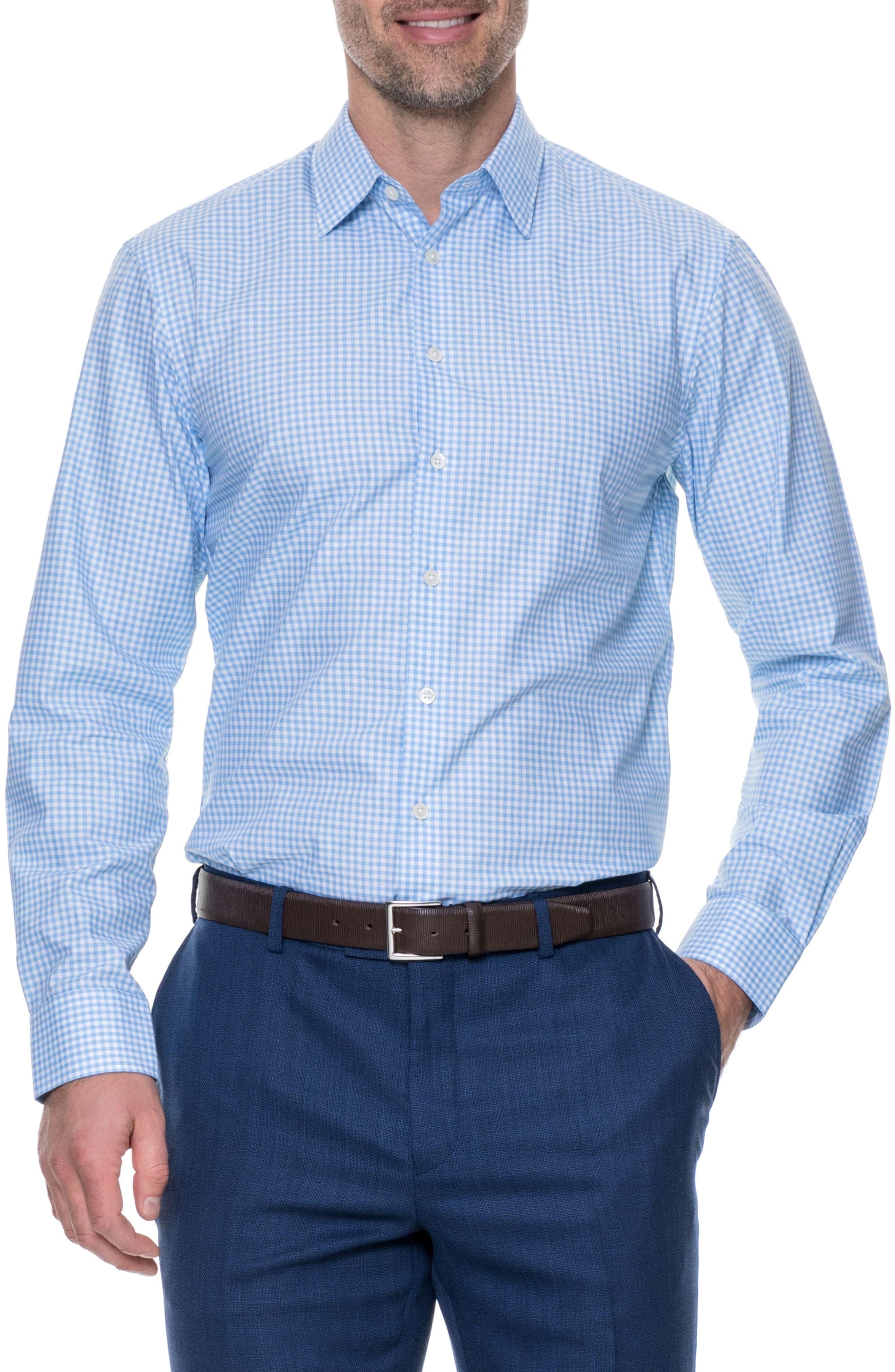Tudor Slim Fit Check Sport Shirt,                             Main thumbnail 1, color,                             Sky