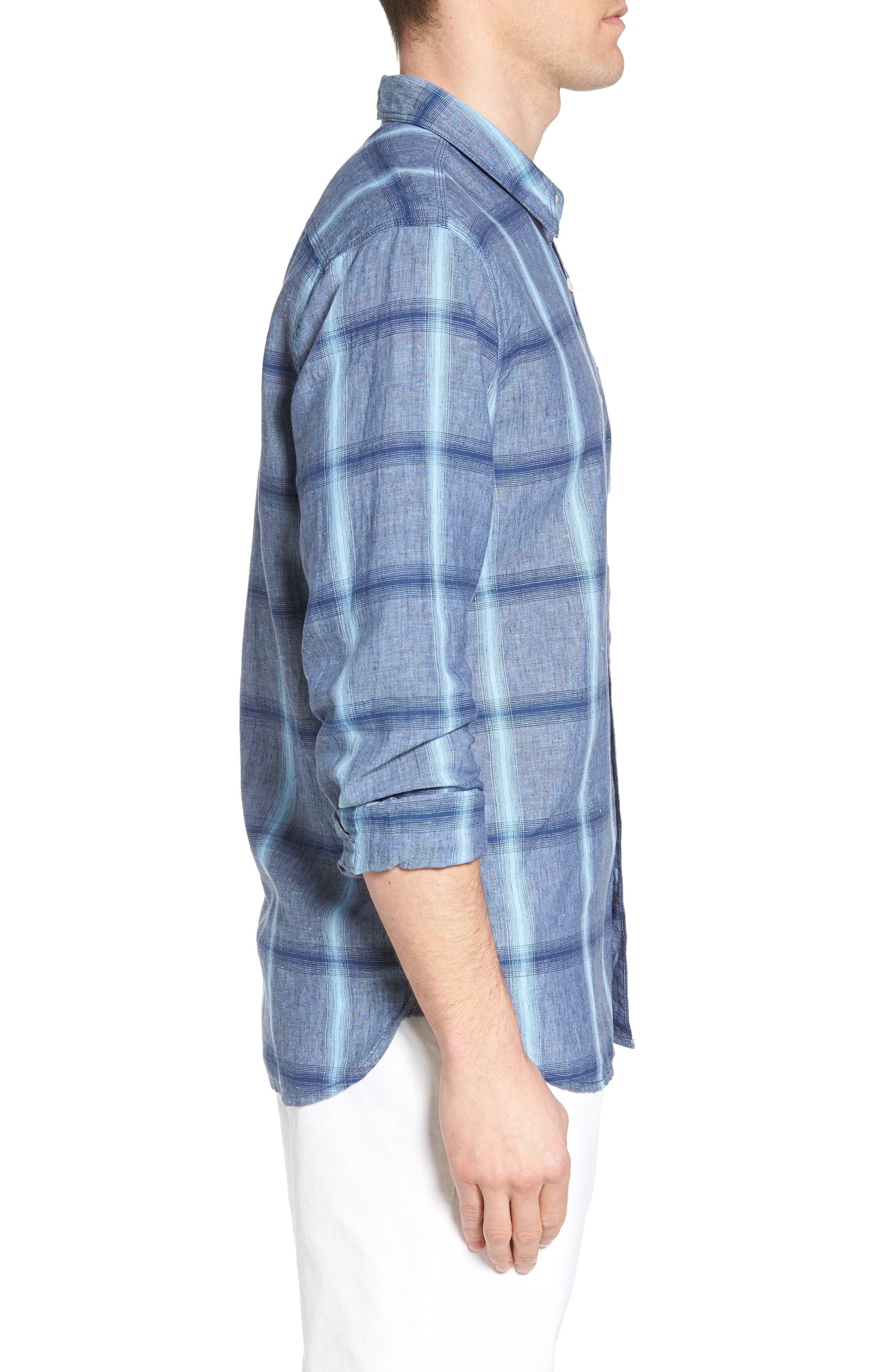 Alternate Image 3  - True Grit Rincon Plaid Linen Blend Chambray Sport Shirt