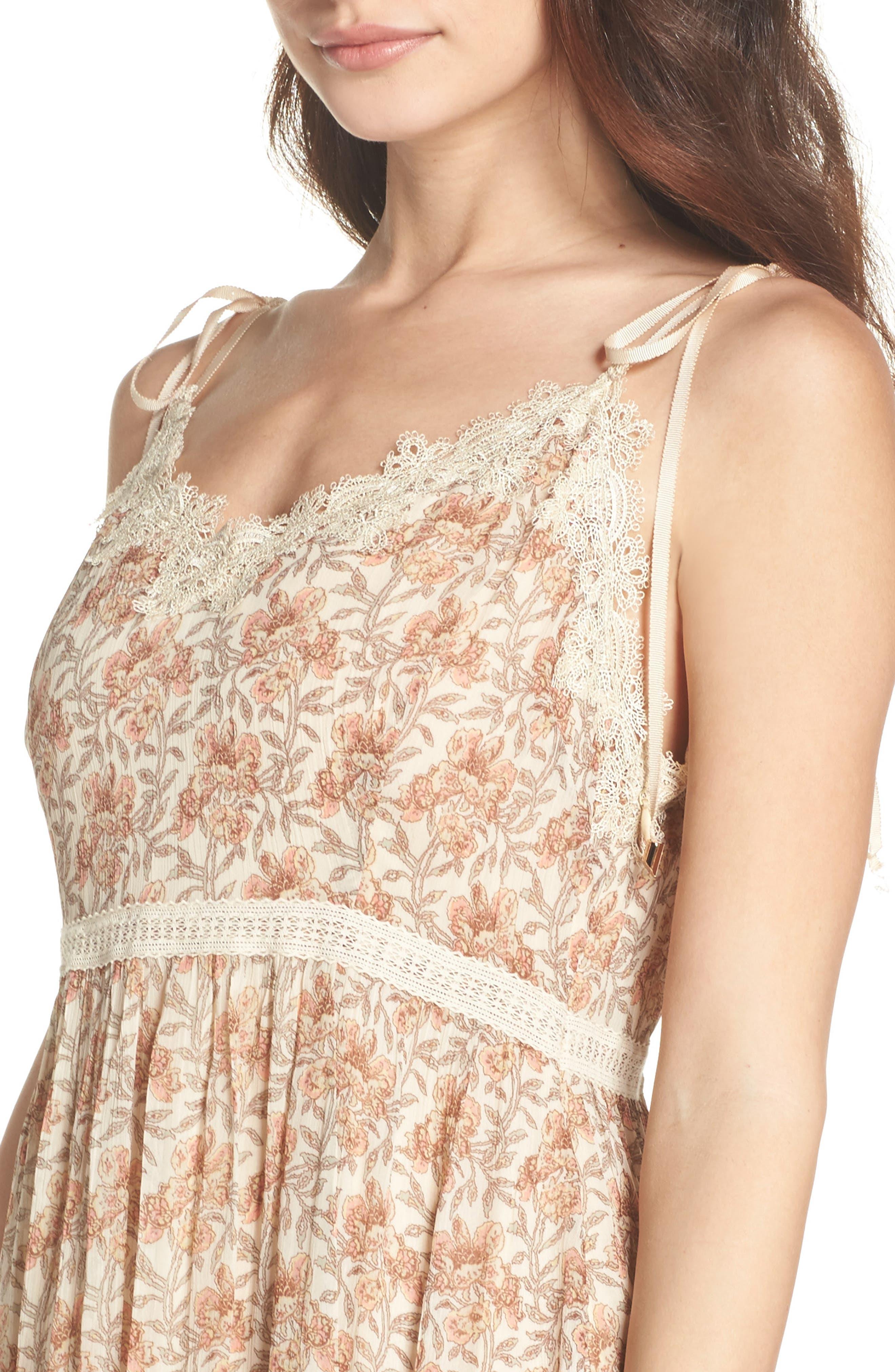 Aubrey Floral Print Dress,                             Alternate thumbnail 4, color,                             Desert Sunrise Floral