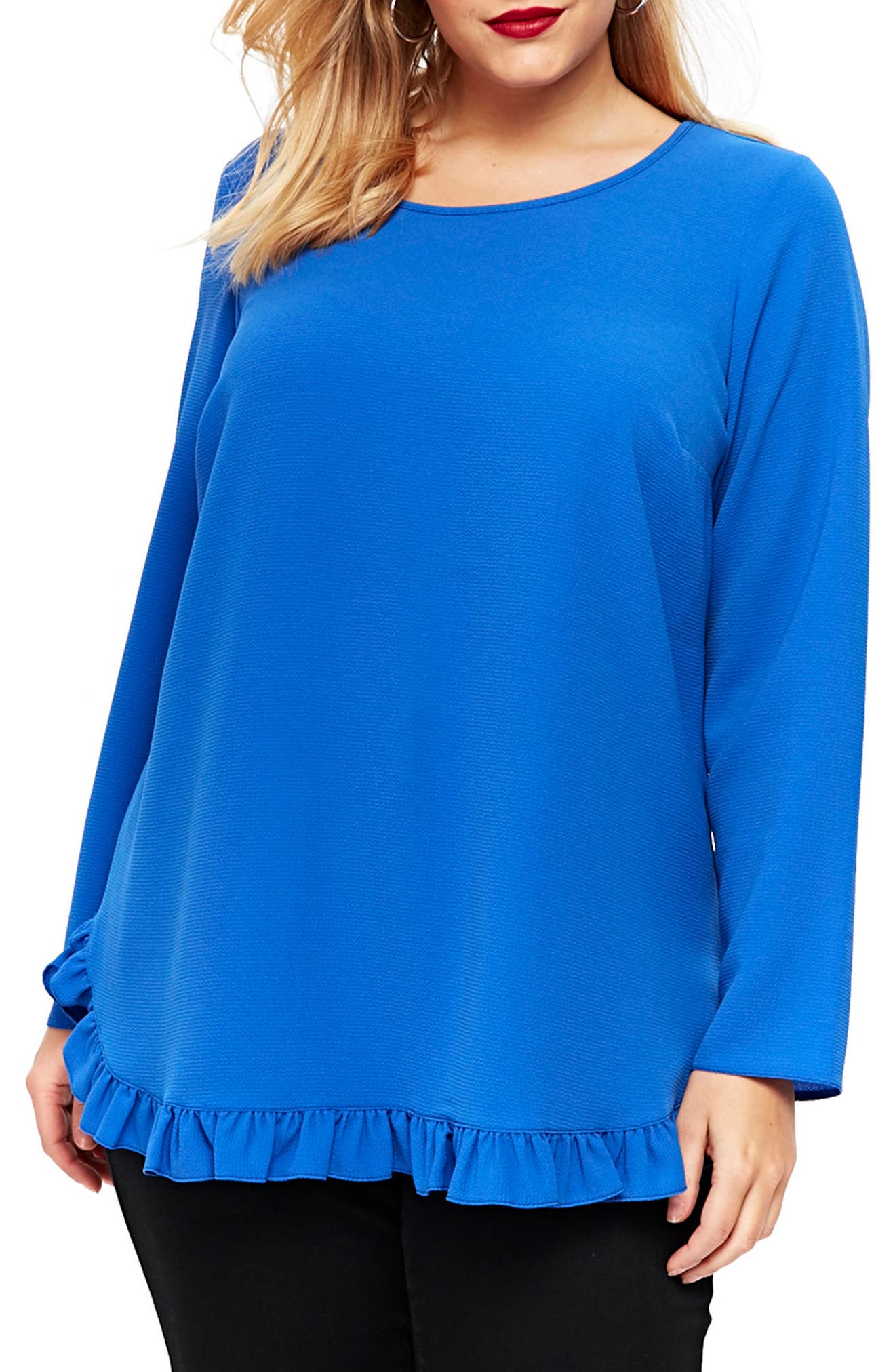 Ruffle Hem Top,                         Main,                         color, Blue