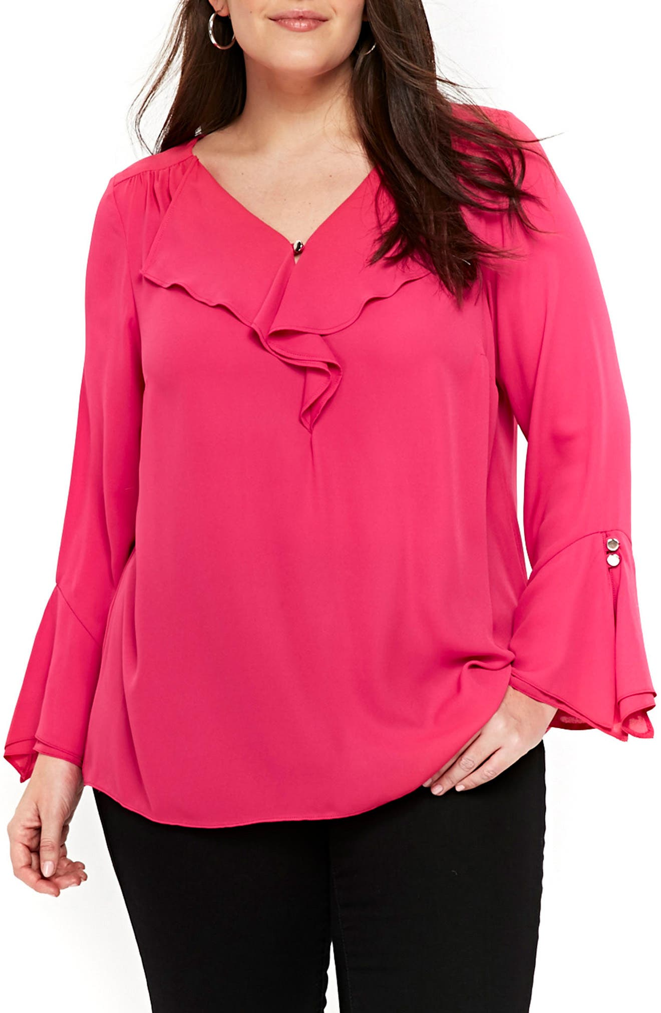 Ruffle Neck Bell Sleeve Top,                         Main,                         color, Pink