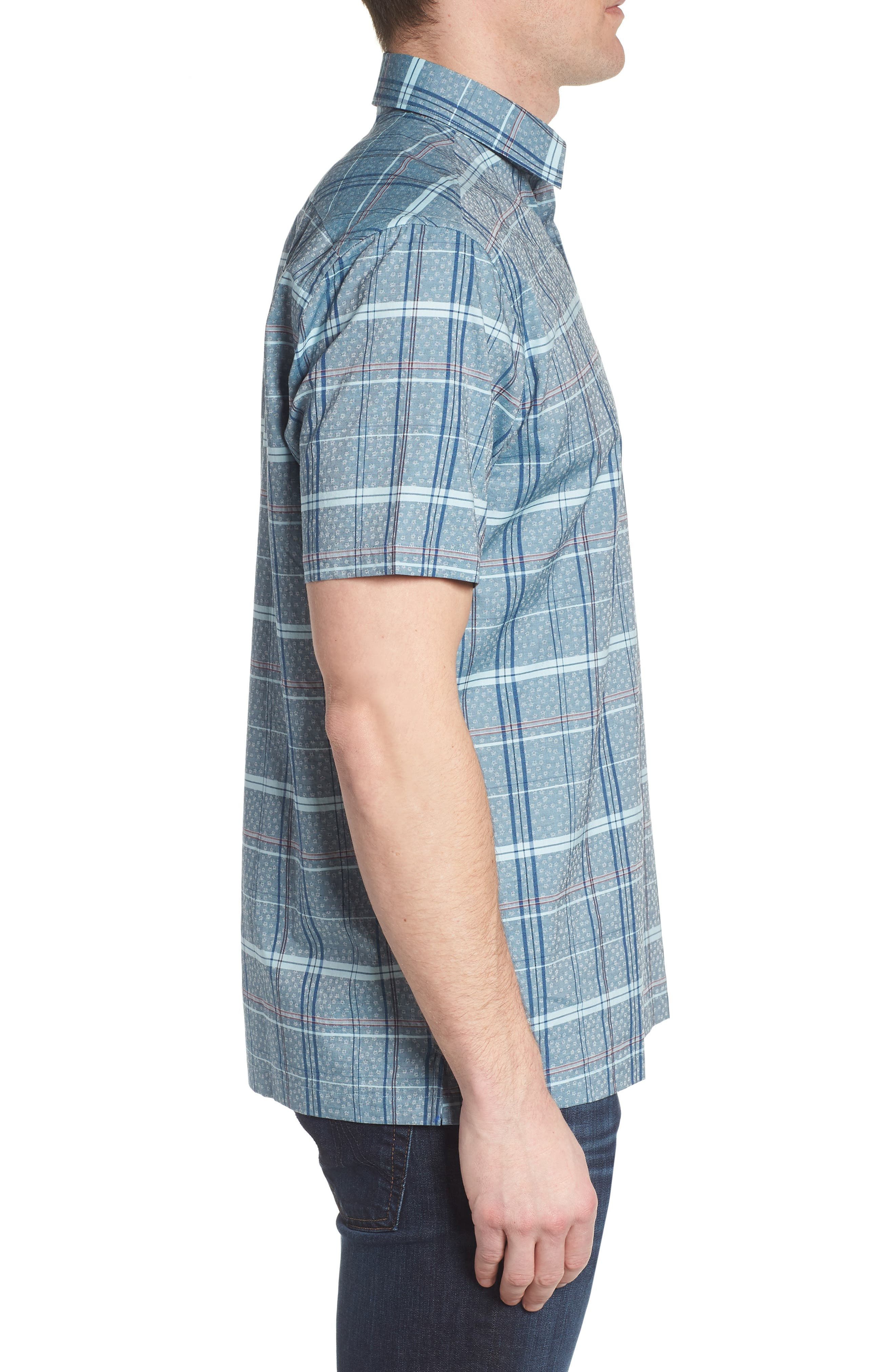Vacaso Regular Fit Plaid Jacquard Sport Shirt,                             Alternate thumbnail 4, color,                             Water