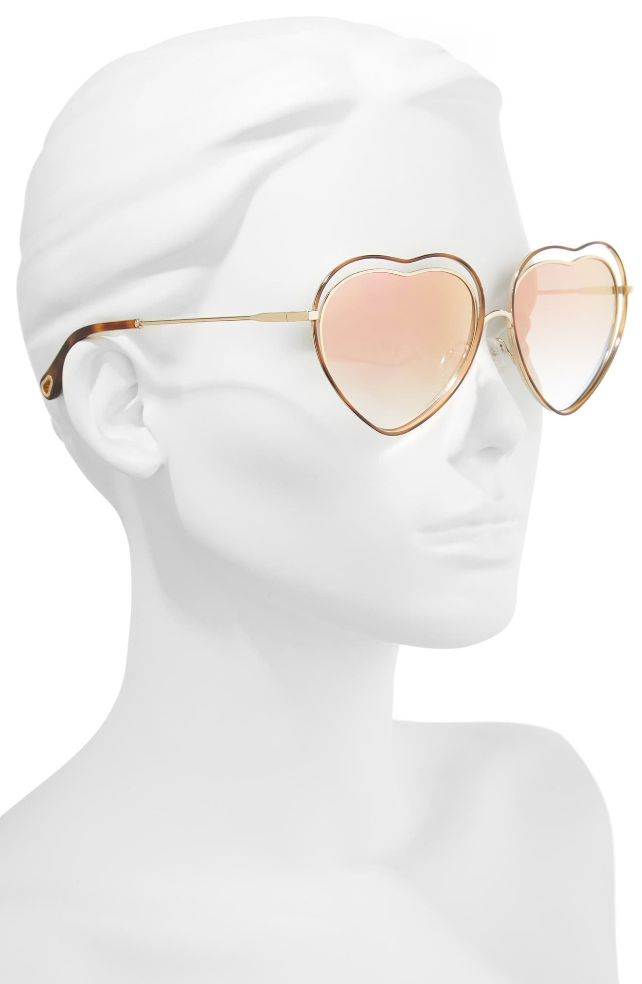Poppy Love Heart Sunglasses,                             Alternate thumbnail 2, color,                             Havana/ Brown Peach