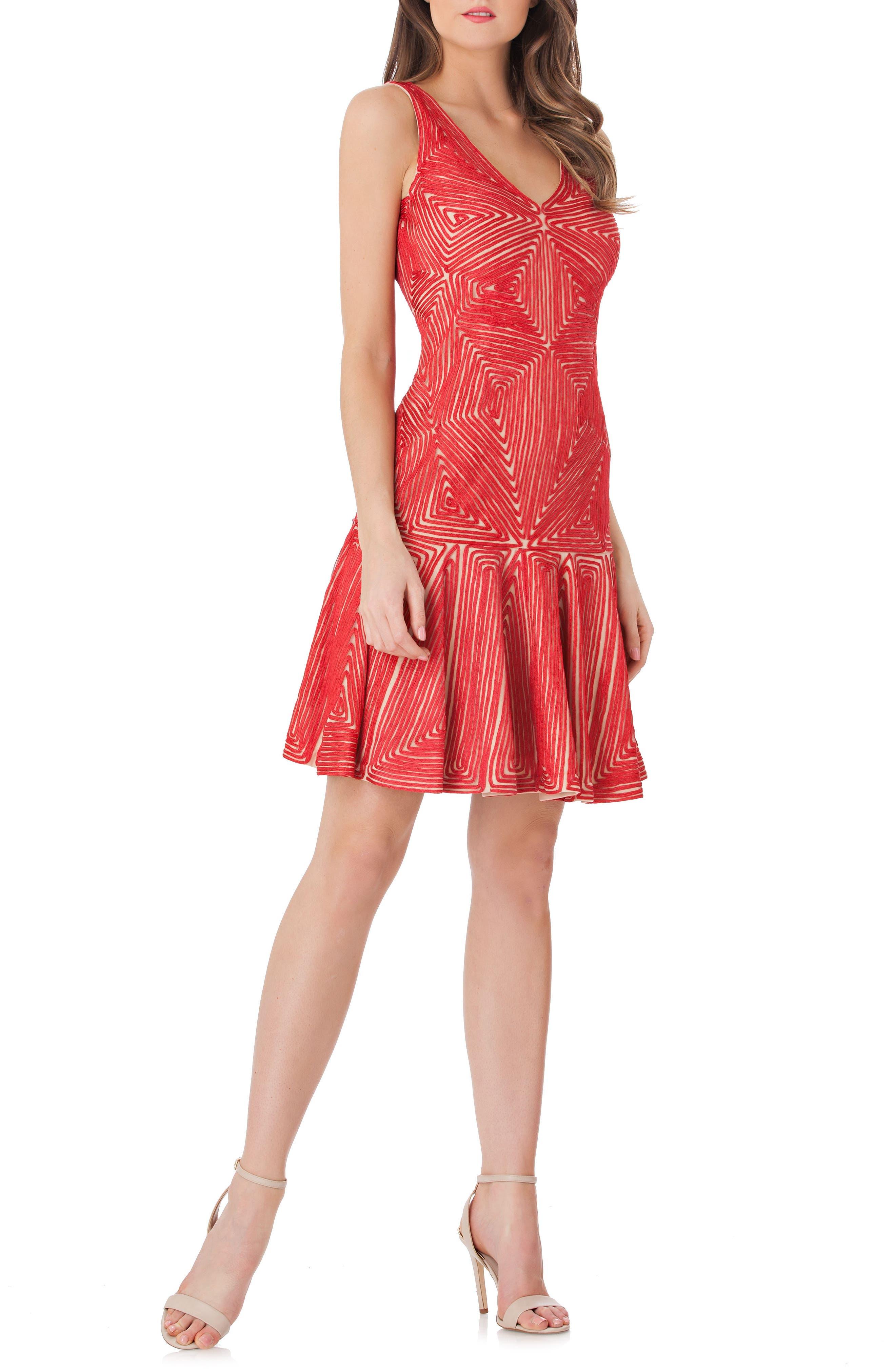 Soutache Flounce Hem Dress,                         Main,                         color, Coral