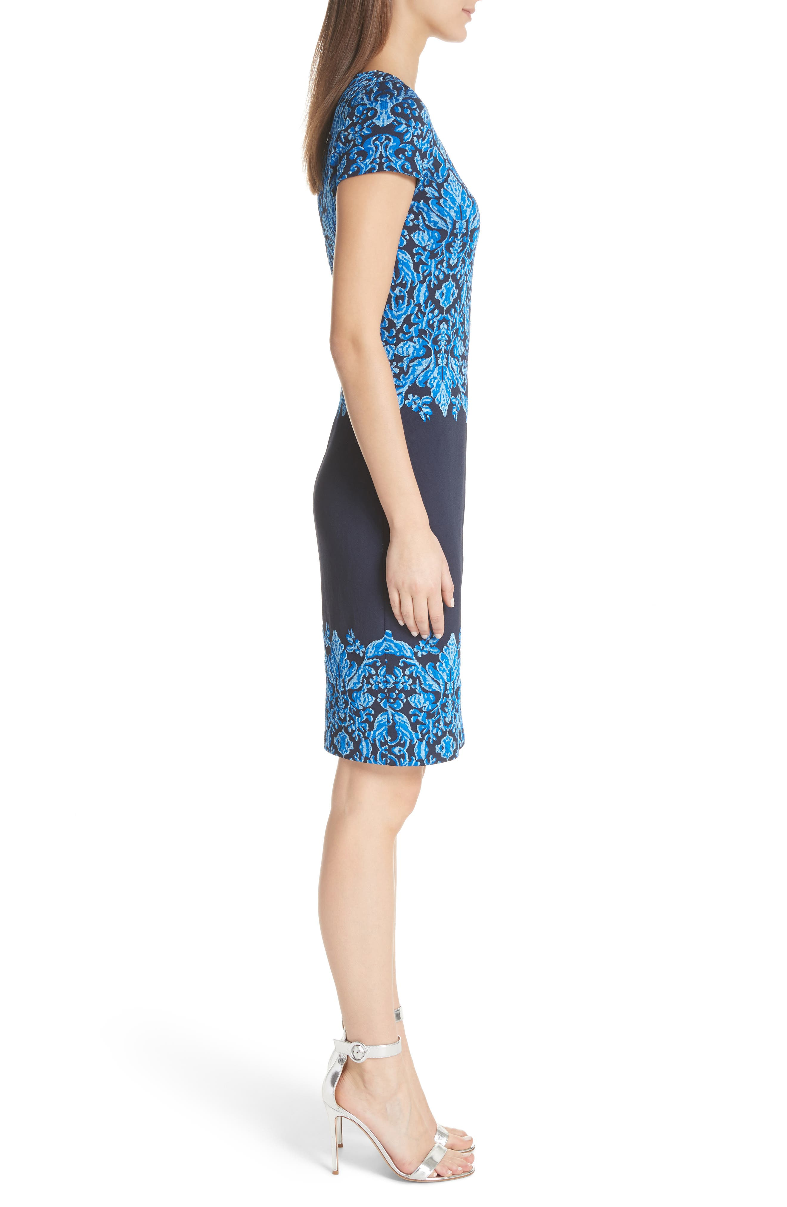 Cool Tones Brocade Knit Dress,                             Alternate thumbnail 3, color,                             Cobalt Multi