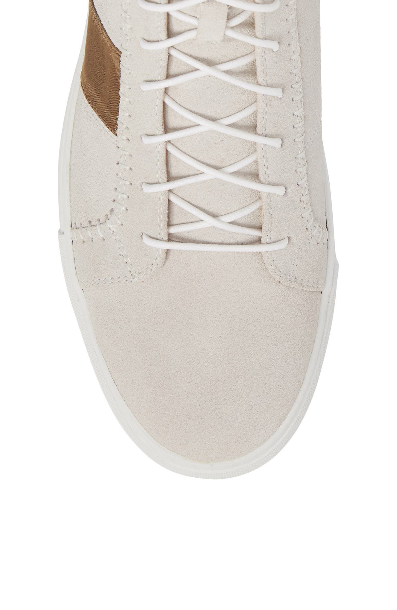High Top Sneaker,                             Alternate thumbnail 5, color,                             White Suede