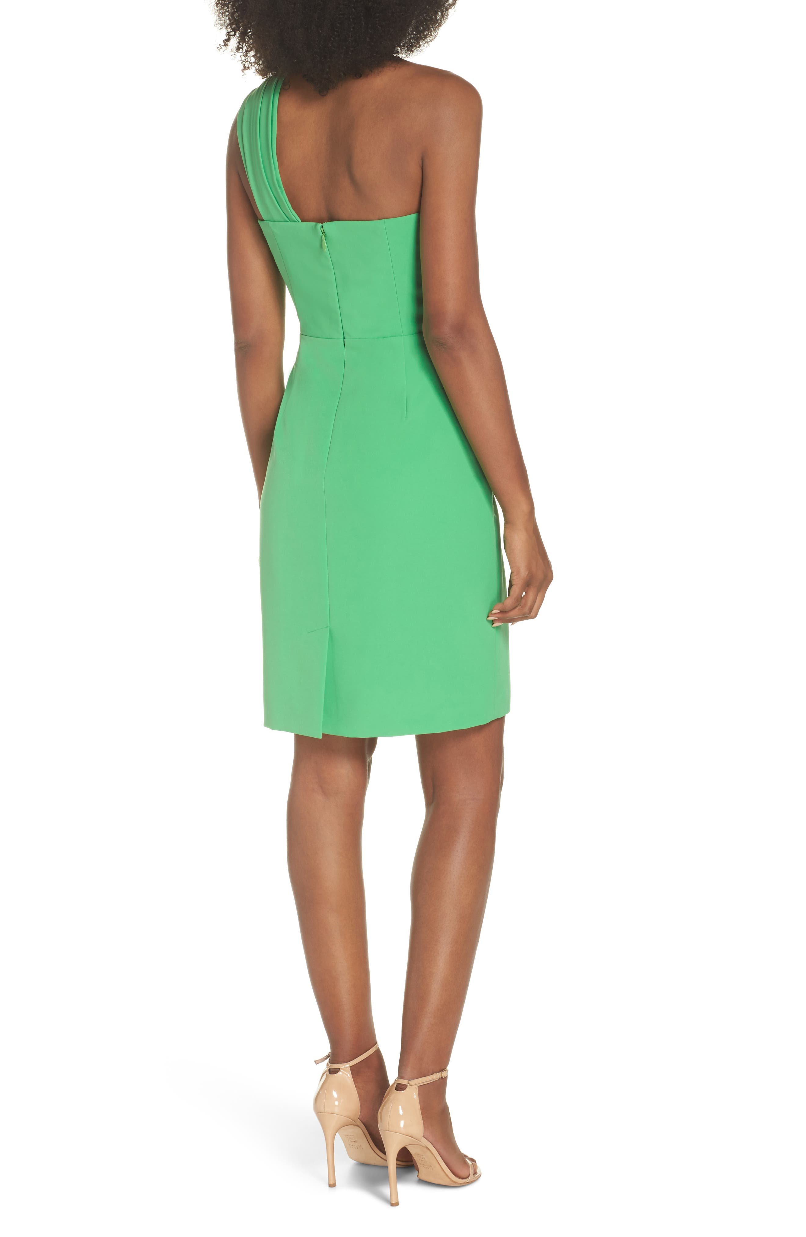 Laguna One-Shoulder Scuba Dress,                             Alternate thumbnail 2, color,                             Green