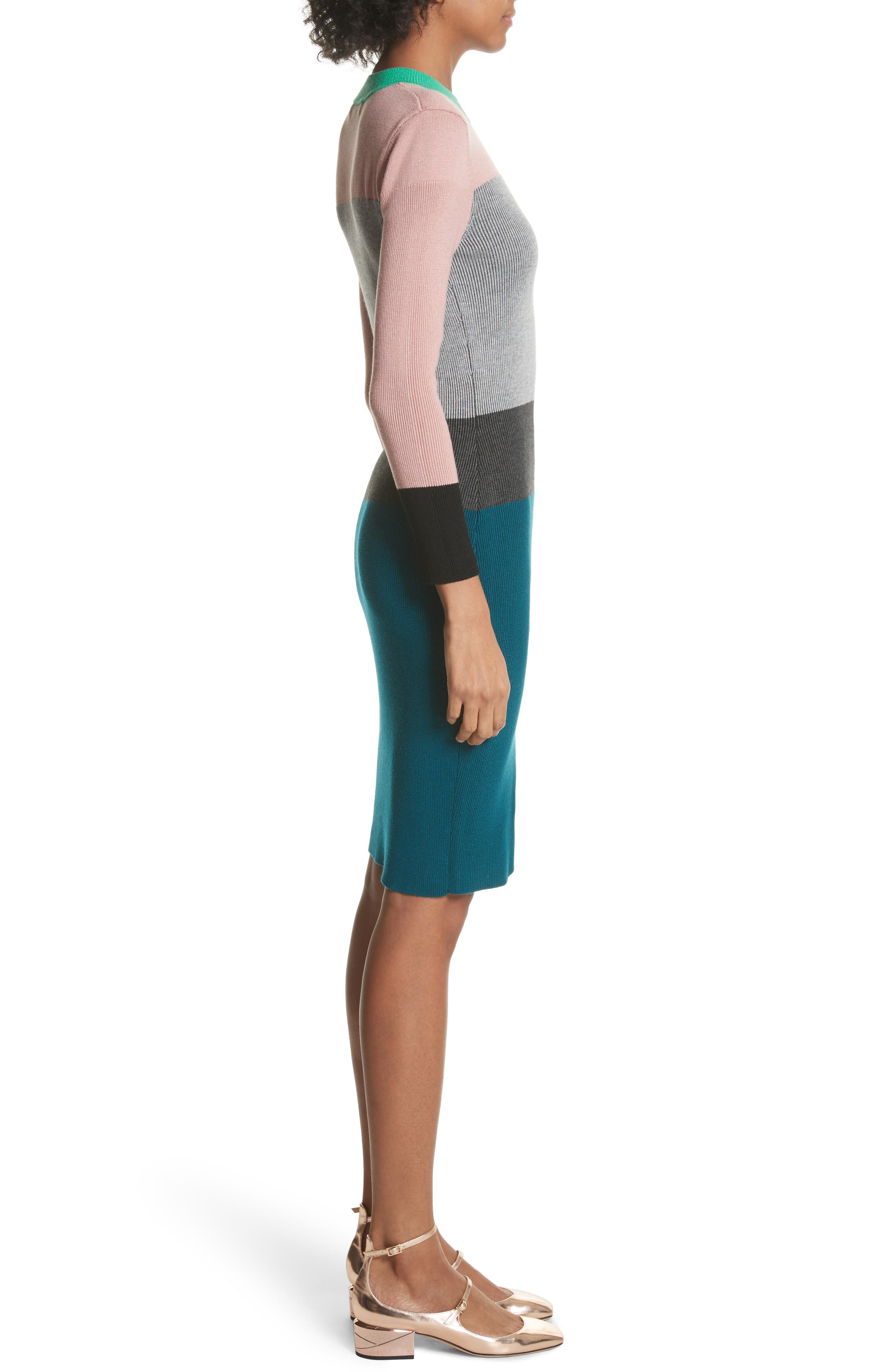 Colour by Numbers Colorblock Sweater Dress,                             Alternate thumbnail 3, color,                             Grey