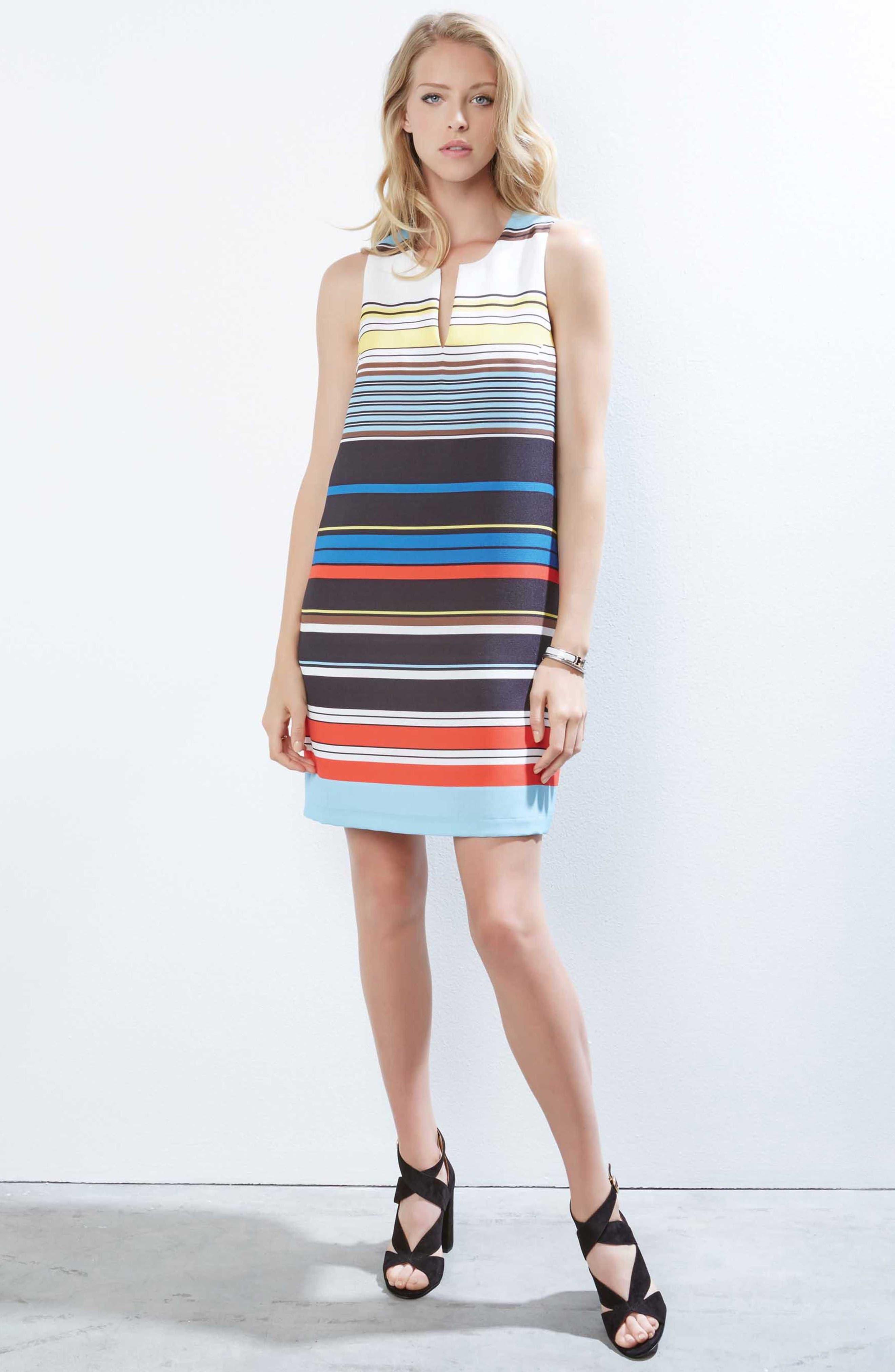 Modern Art Shift Dress,                             Alternate thumbnail 4, color,                             Striped