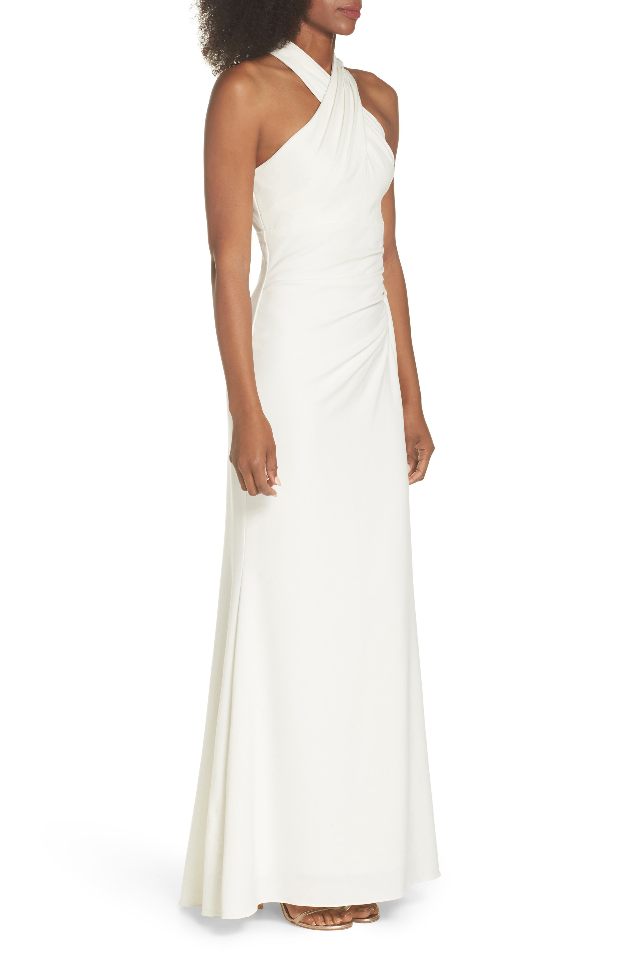 Side Pleat Crossneck Gown,                             Alternate thumbnail 3, color,                             Ivory