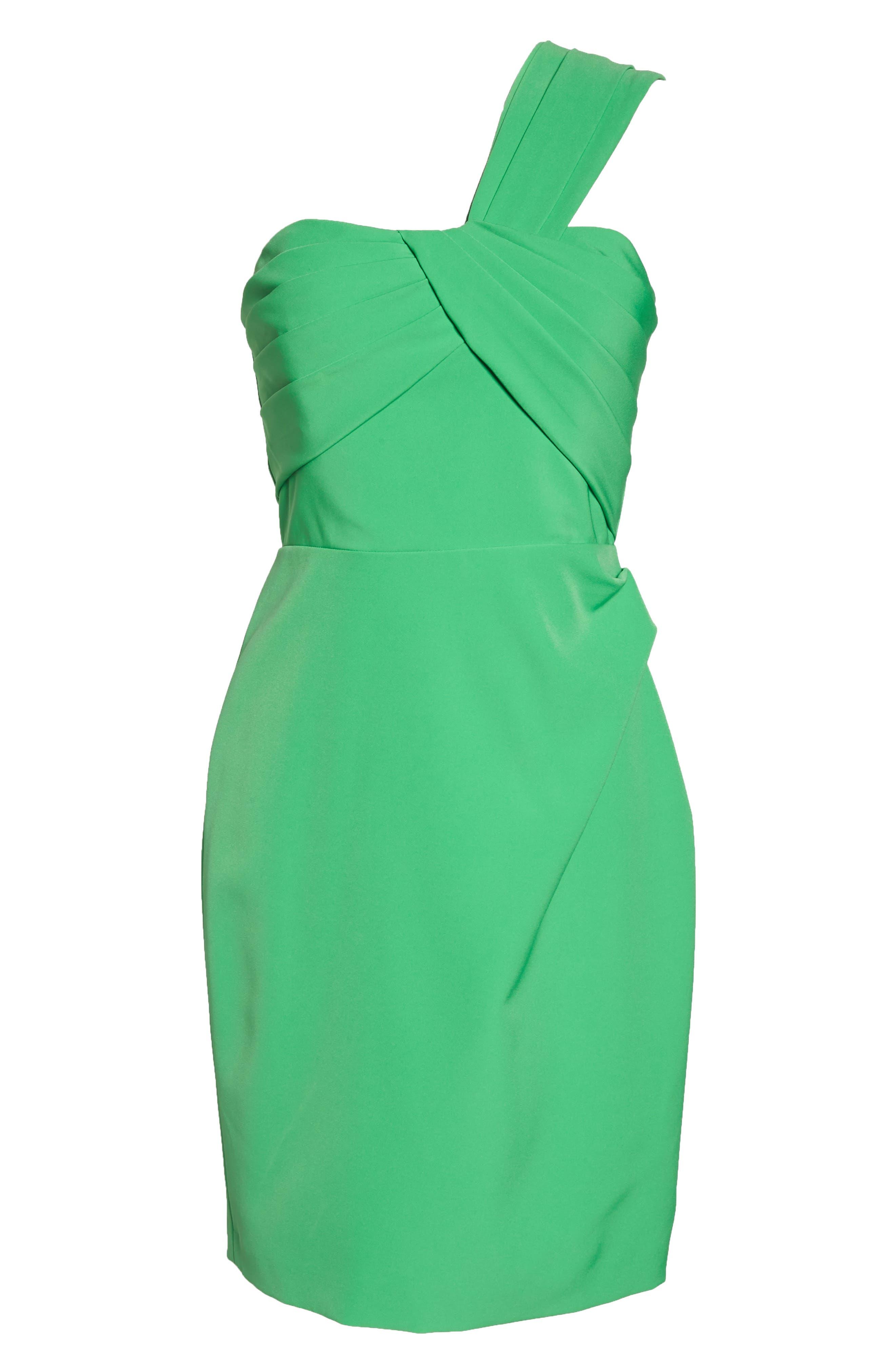 Laguna One-Shoulder Scuba Dress,                             Alternate thumbnail 7, color,                             Green