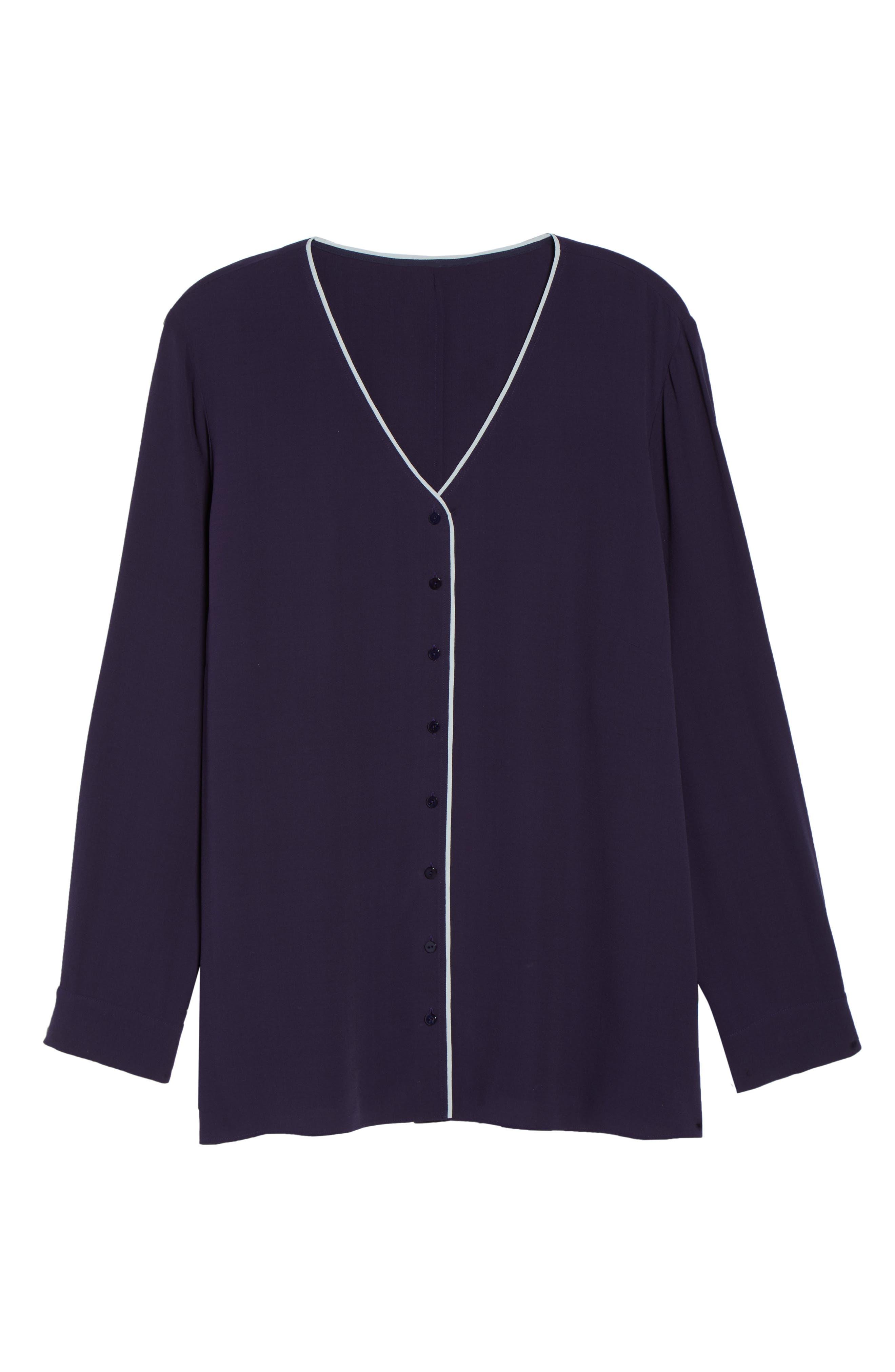 Piping V-Neck Silk Shirt,                             Alternate thumbnail 6, color,                             Salt Lake